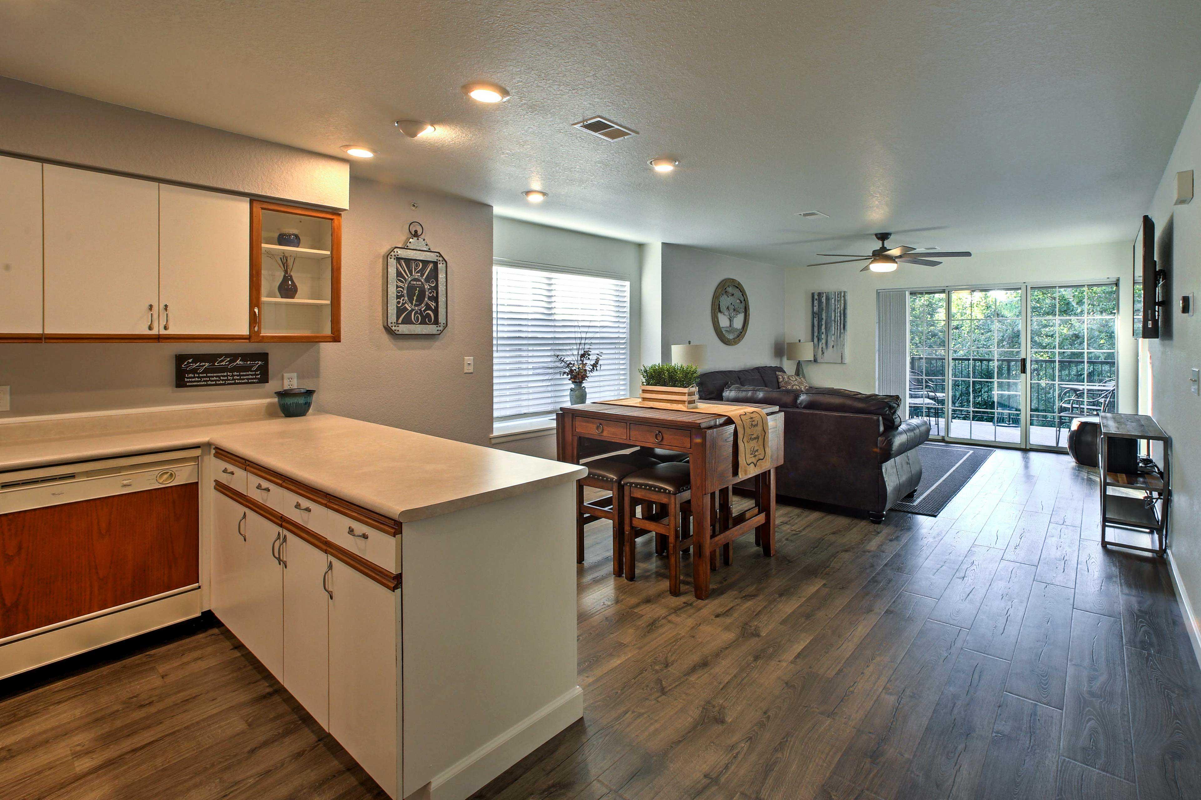 A glass-paneled walls provides ample natural light.