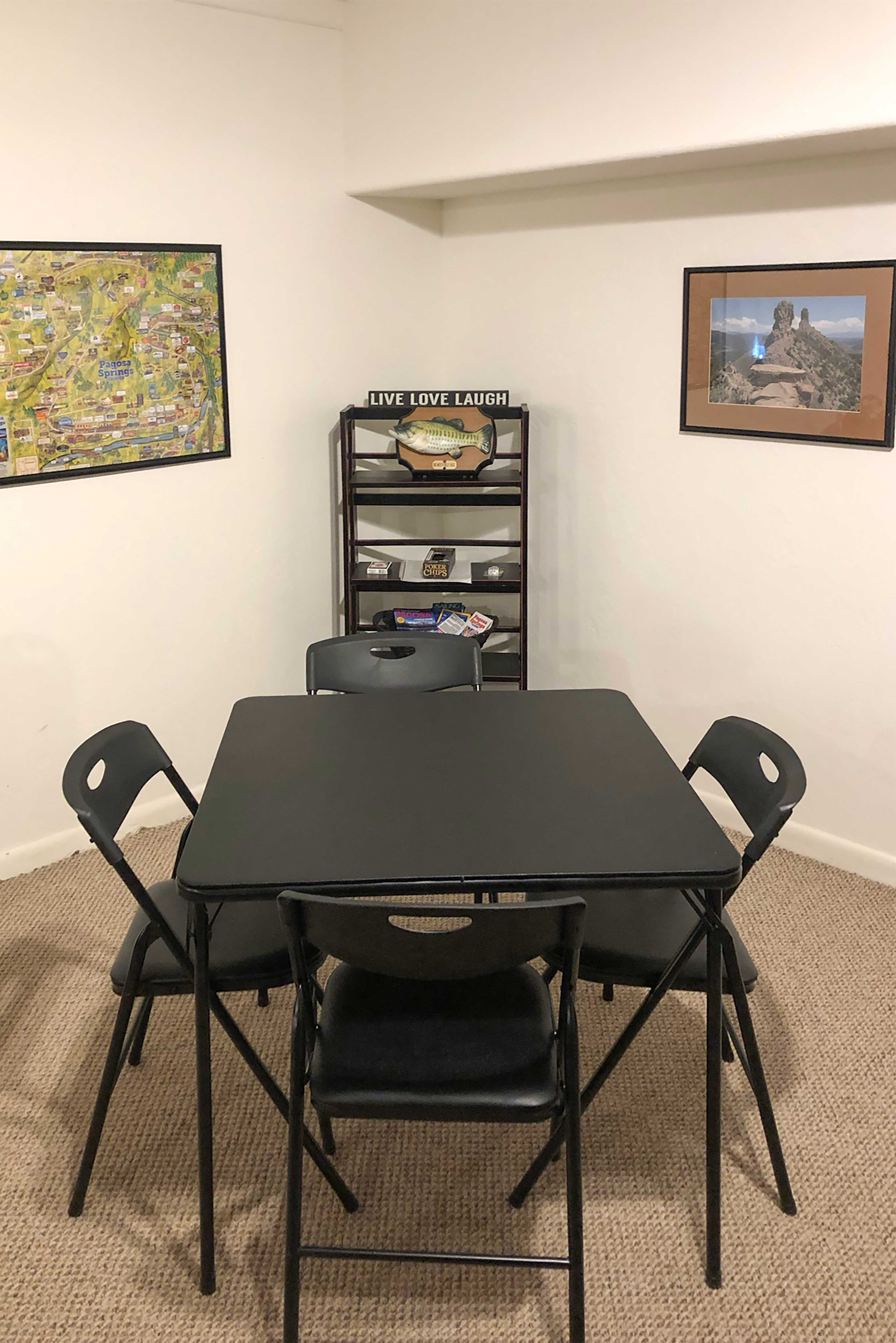 Host a game night around the card table.