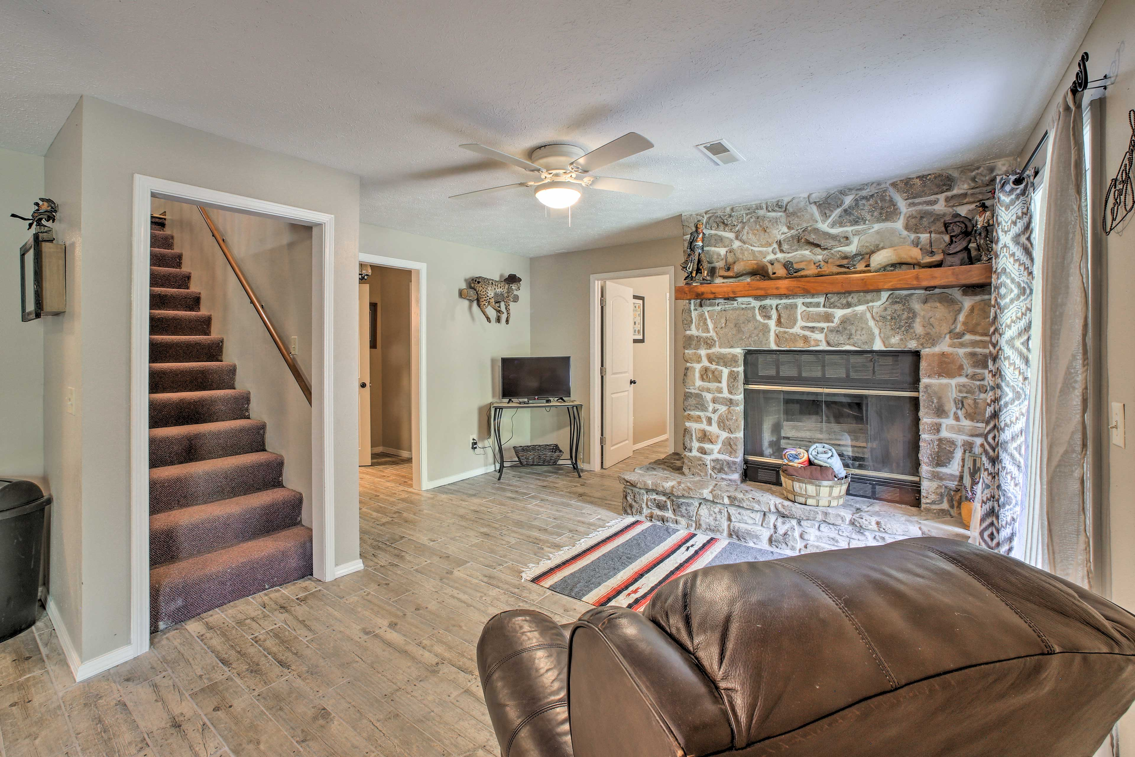 Wood will be provided for the impressive floor-to-ceiling fireplace.
