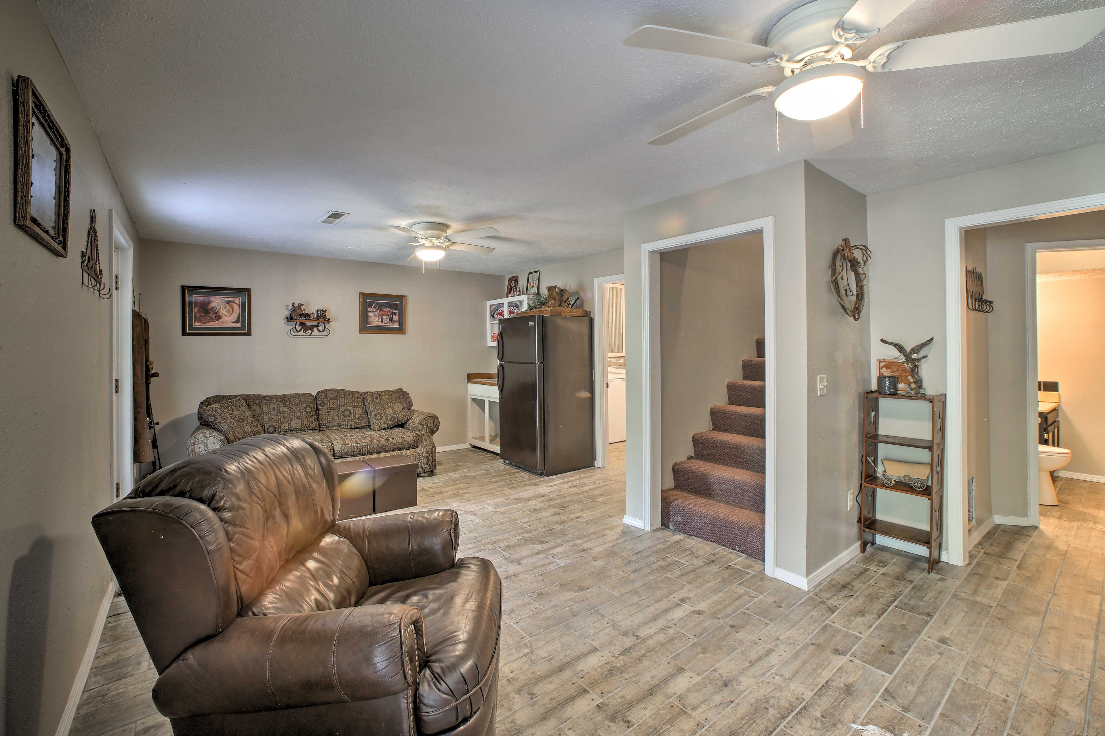 An additional living area is located downstairs.