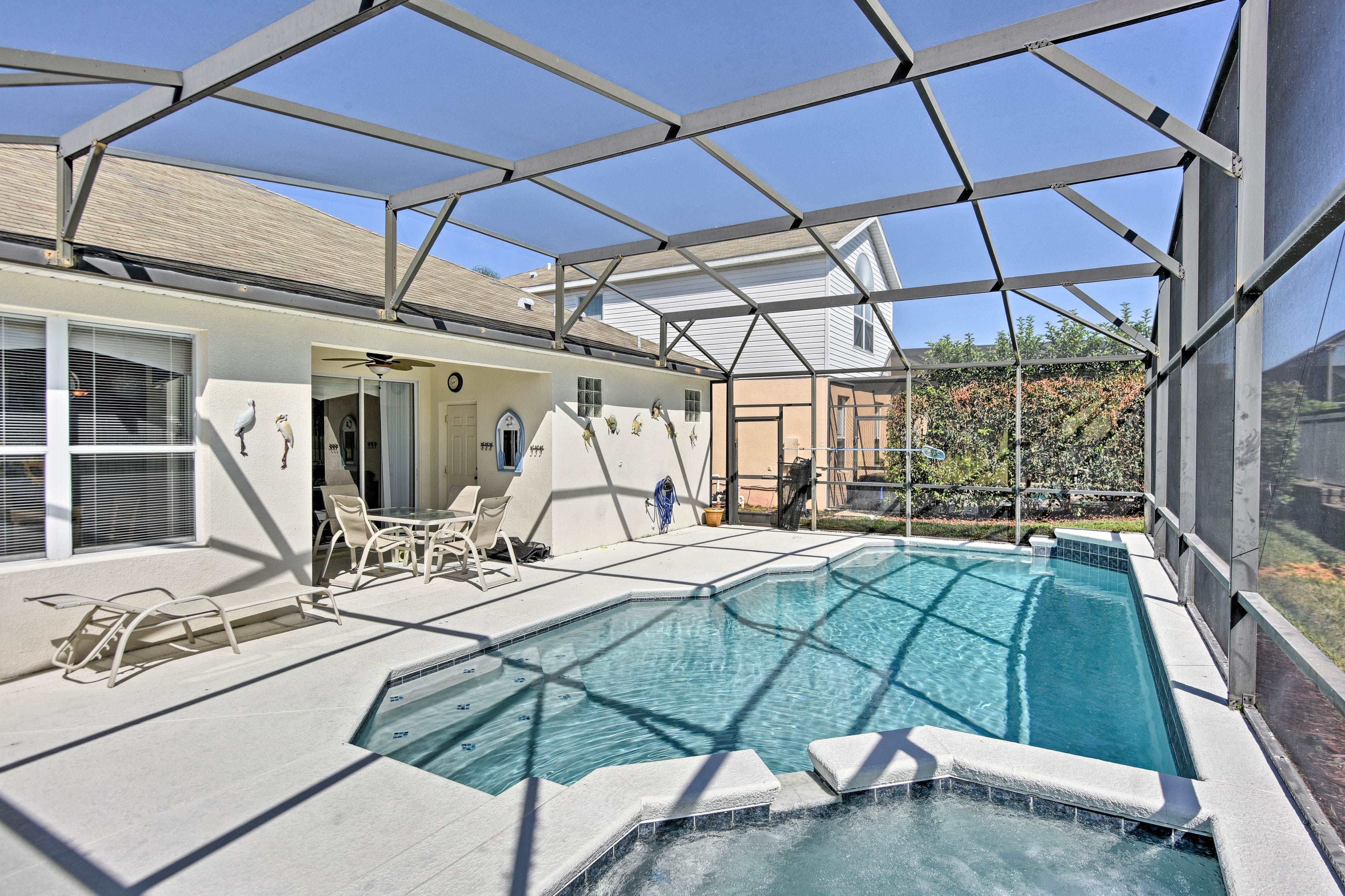 This 4-bedroom, 3-bath home for 9 guests boasts a private lanai and heated pool.