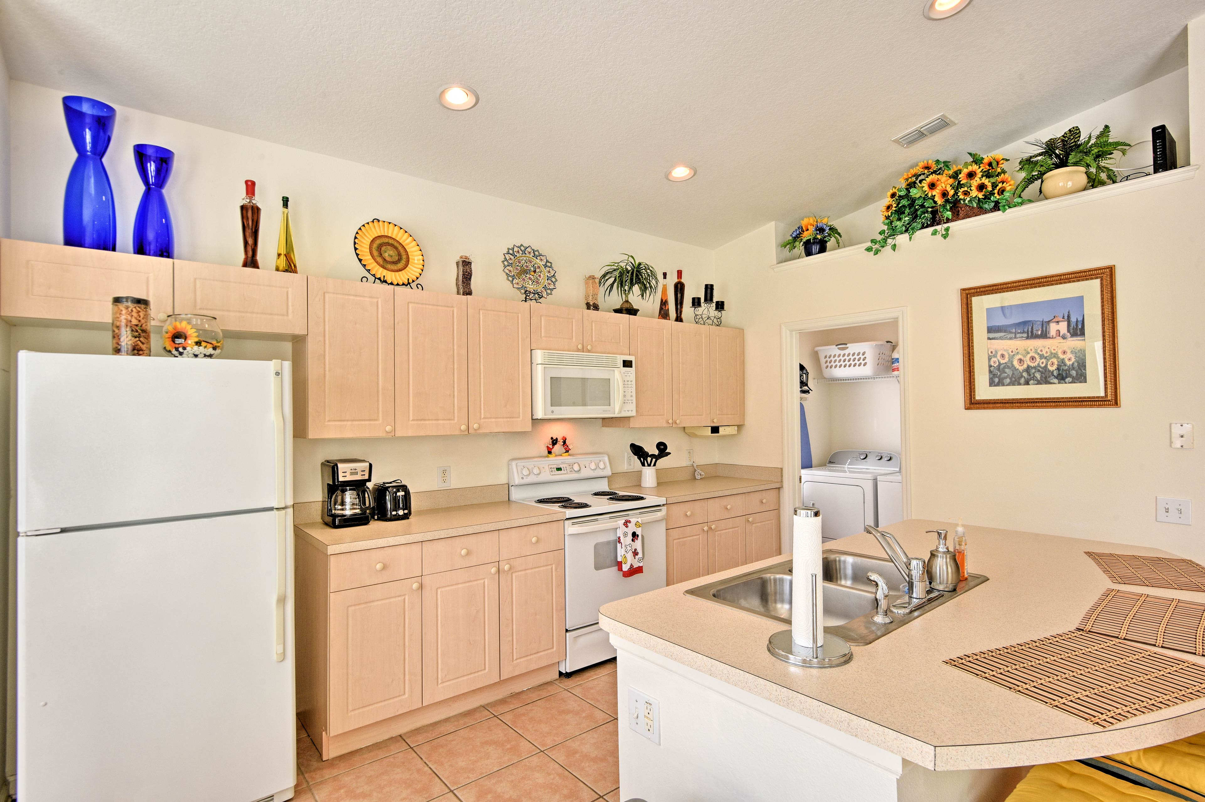 Whip up tasty recipes in the fully equipped kitchen.