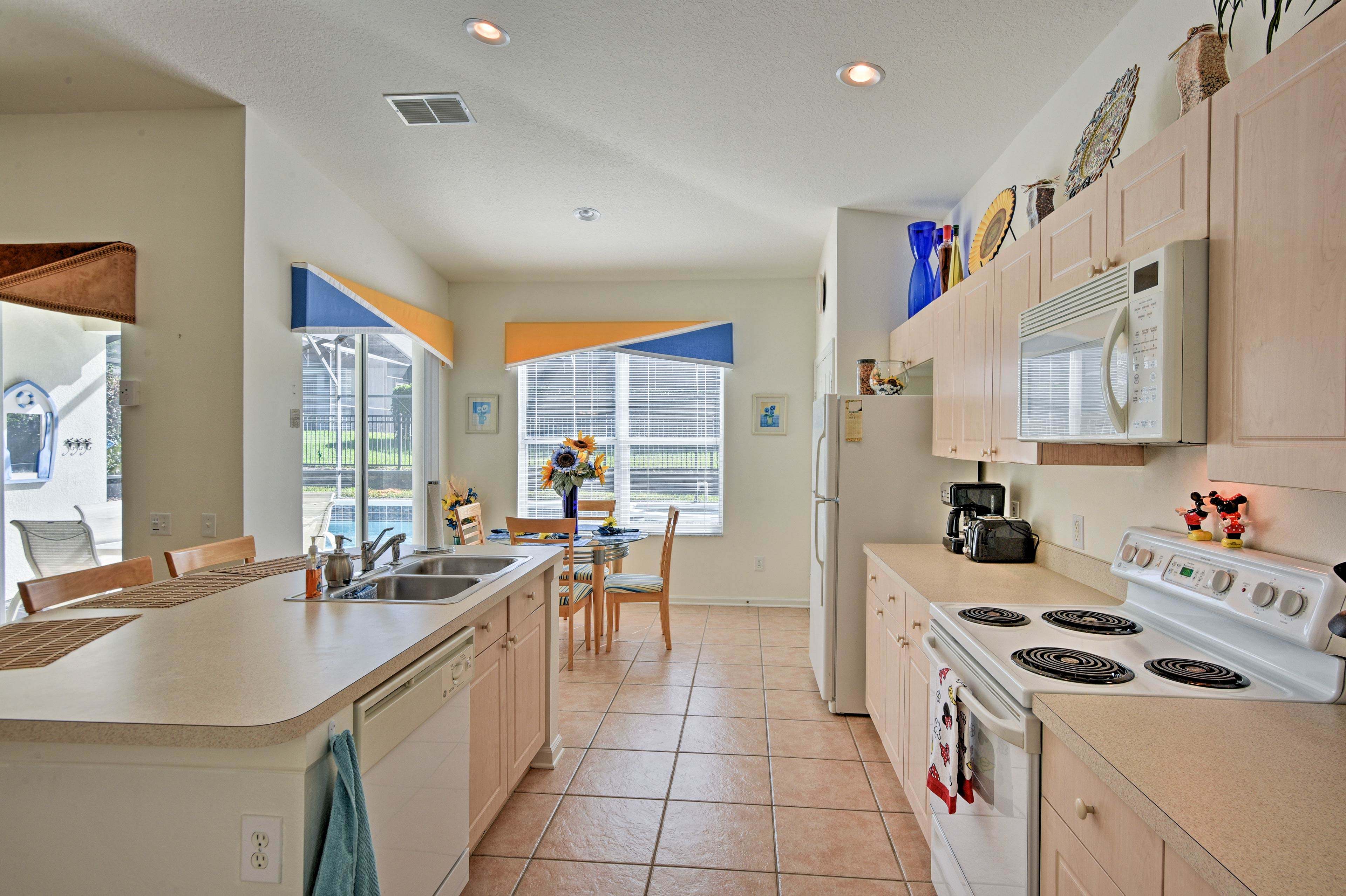 Ample room, countertop space, and all the essential utensils make cooking easy.