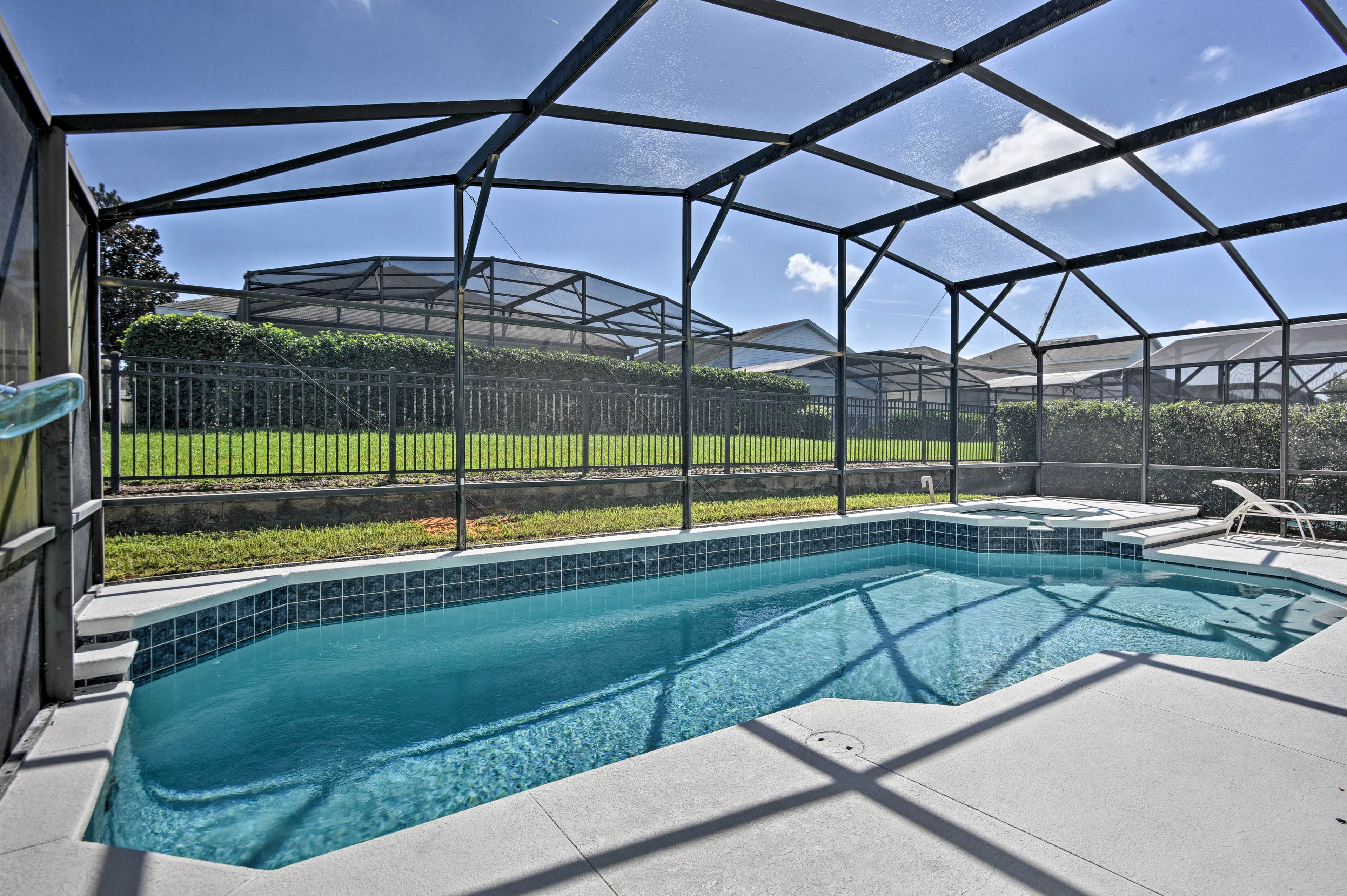 Take refreshing swims in the heated pool.