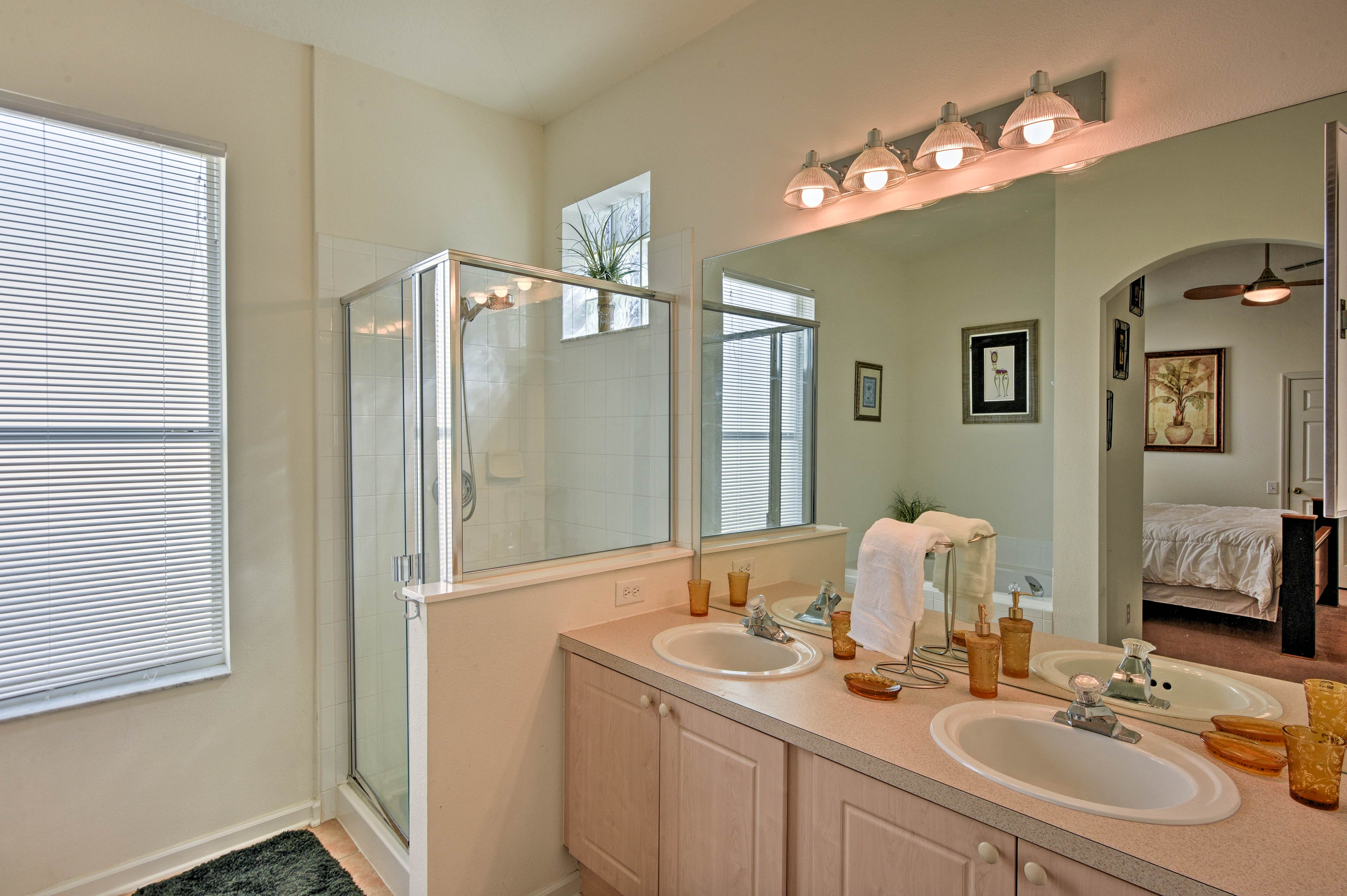 Wake up and rinse off in the en-suite bathroom with a walk-in shower.