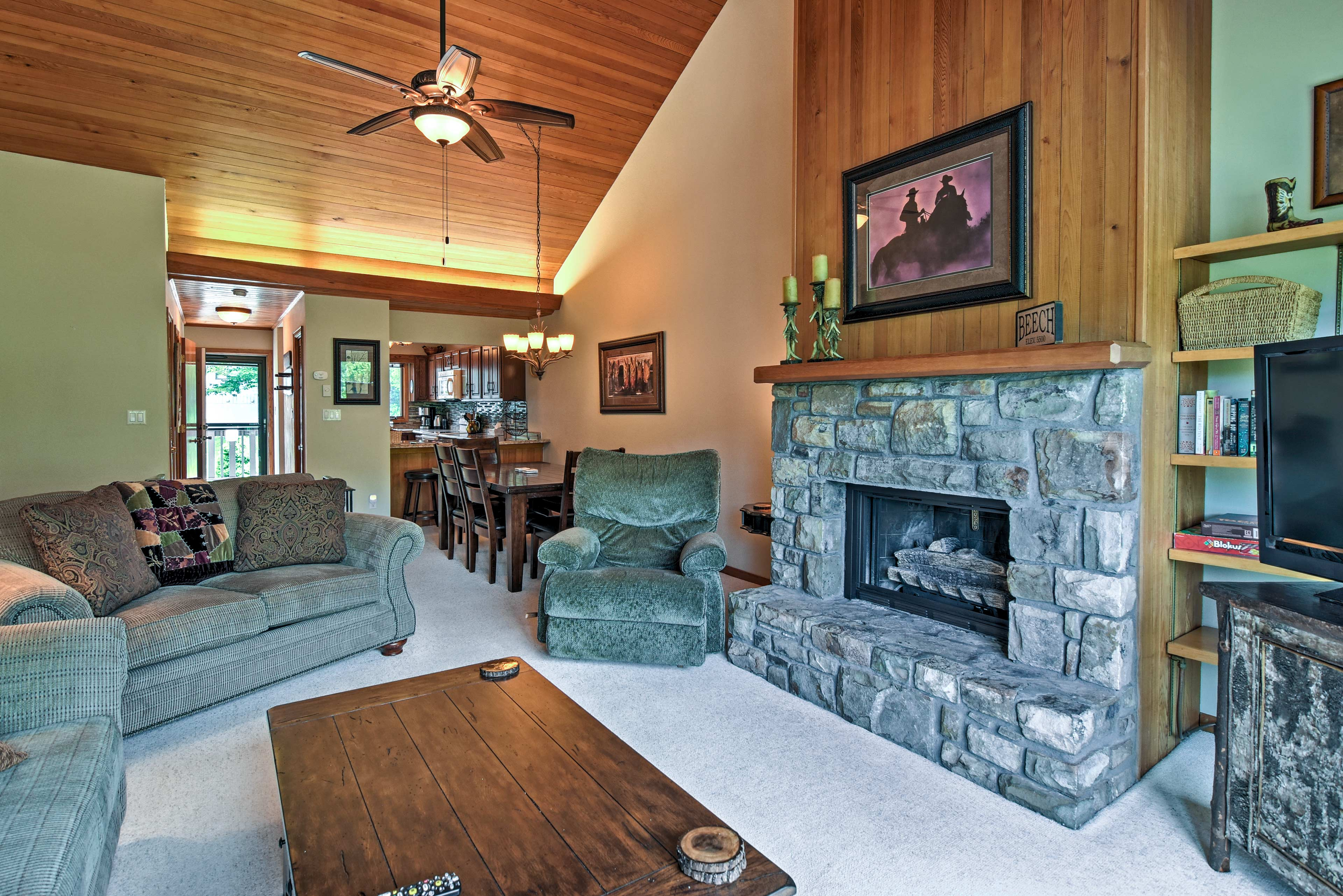 Plush furnishings usher you to relax after a day on the mountain.