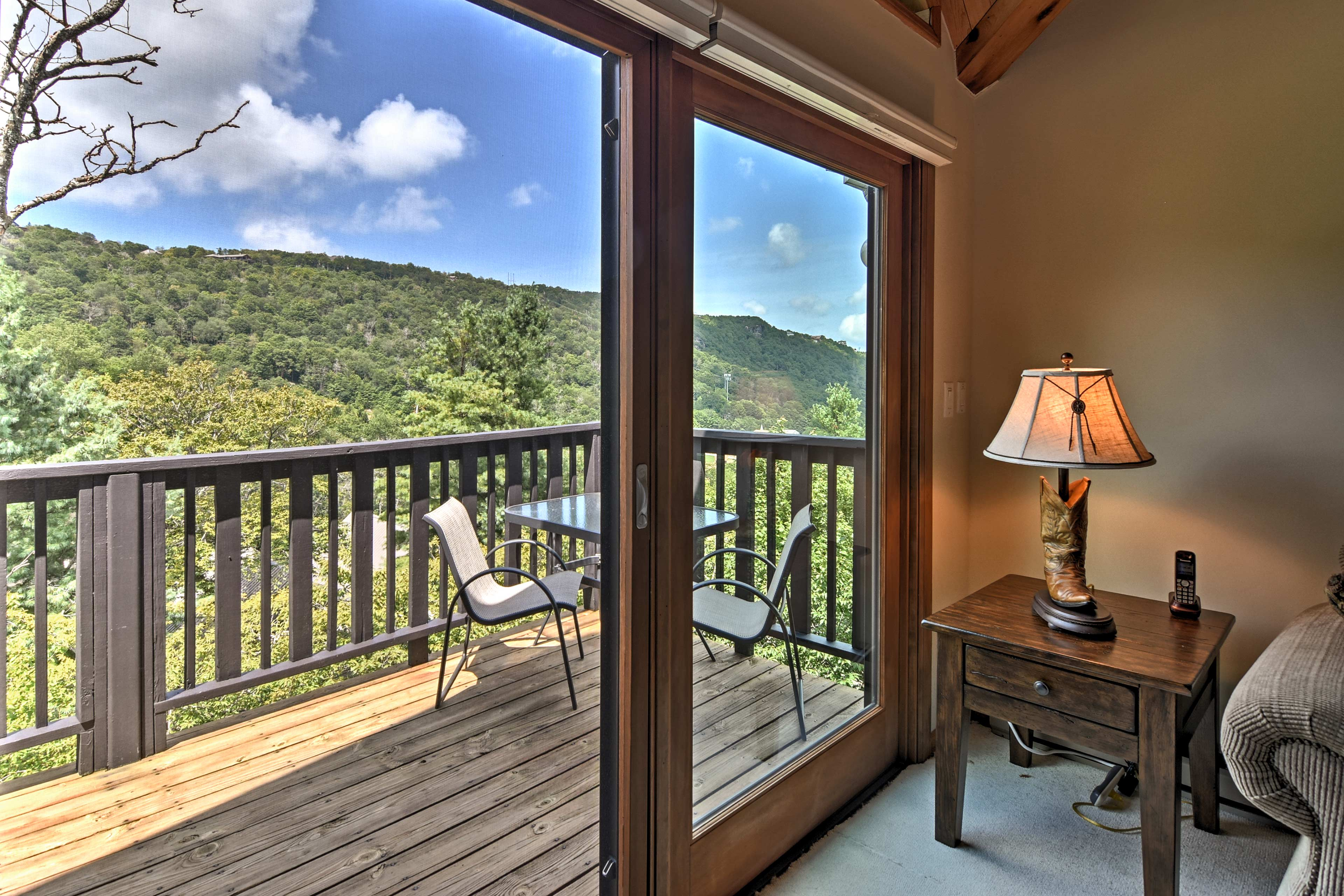 Open the sliding glass door and let the fresh mountain air flow inside.