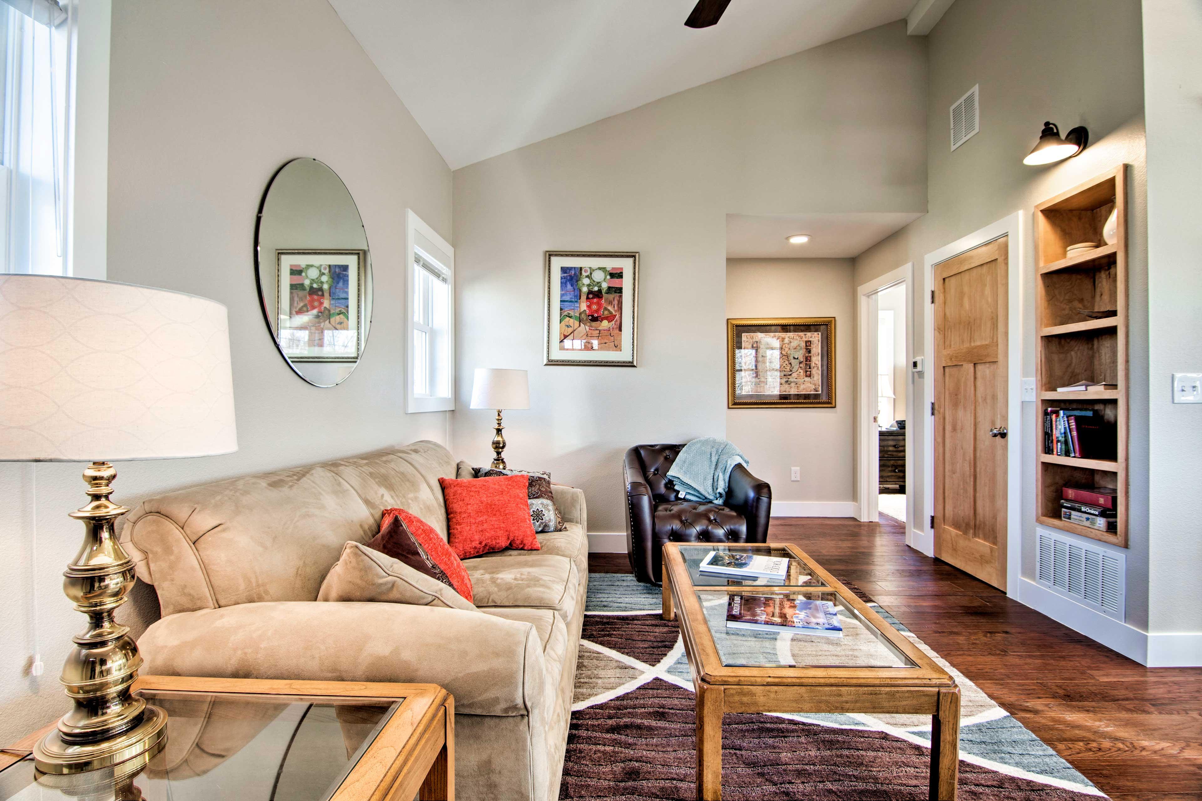 Cozy furnishings adorn the interior.