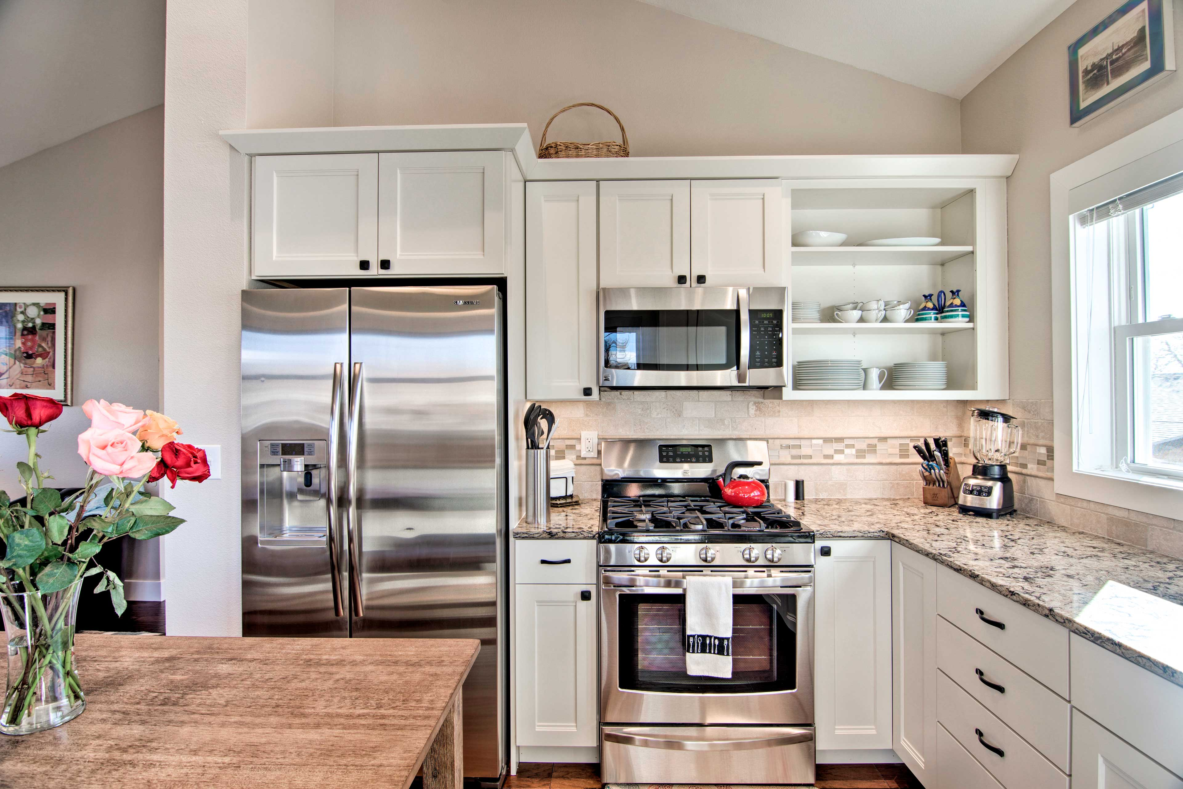 Stainless steel appliances will make cooking a breeze.