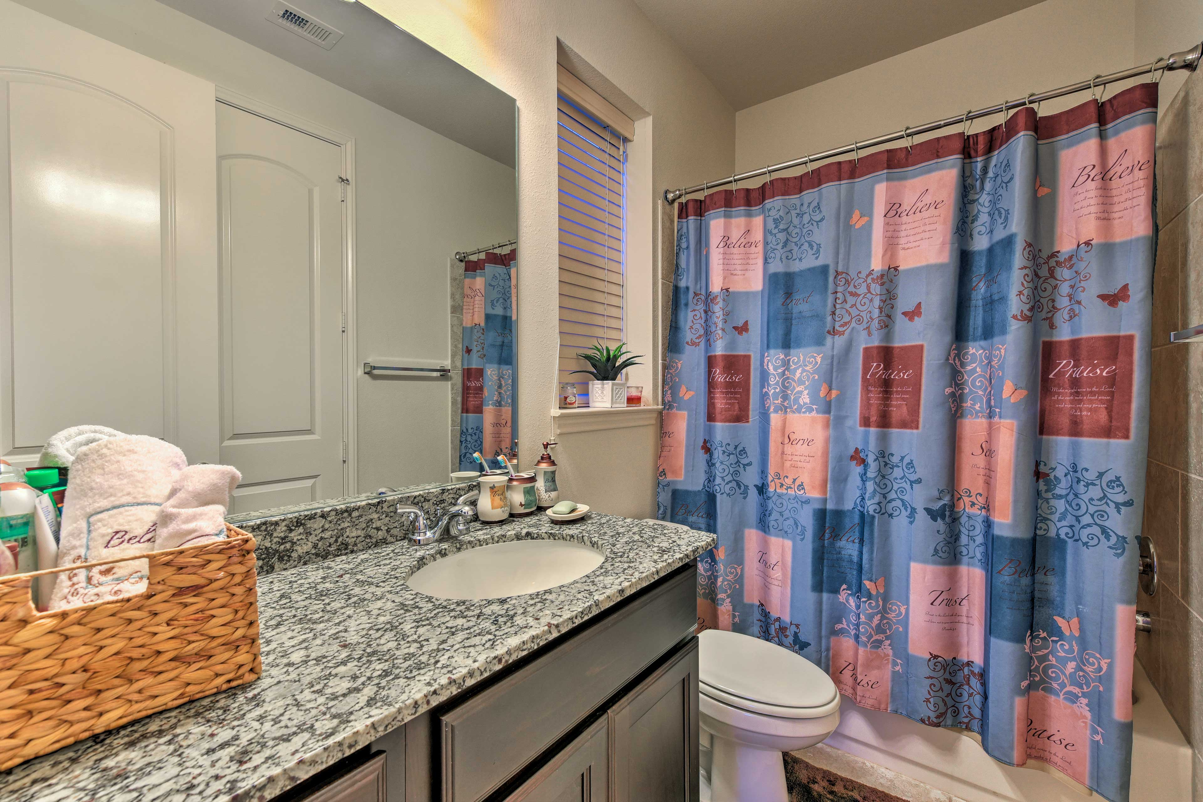 Each bathroom is stocked with fresh towels!