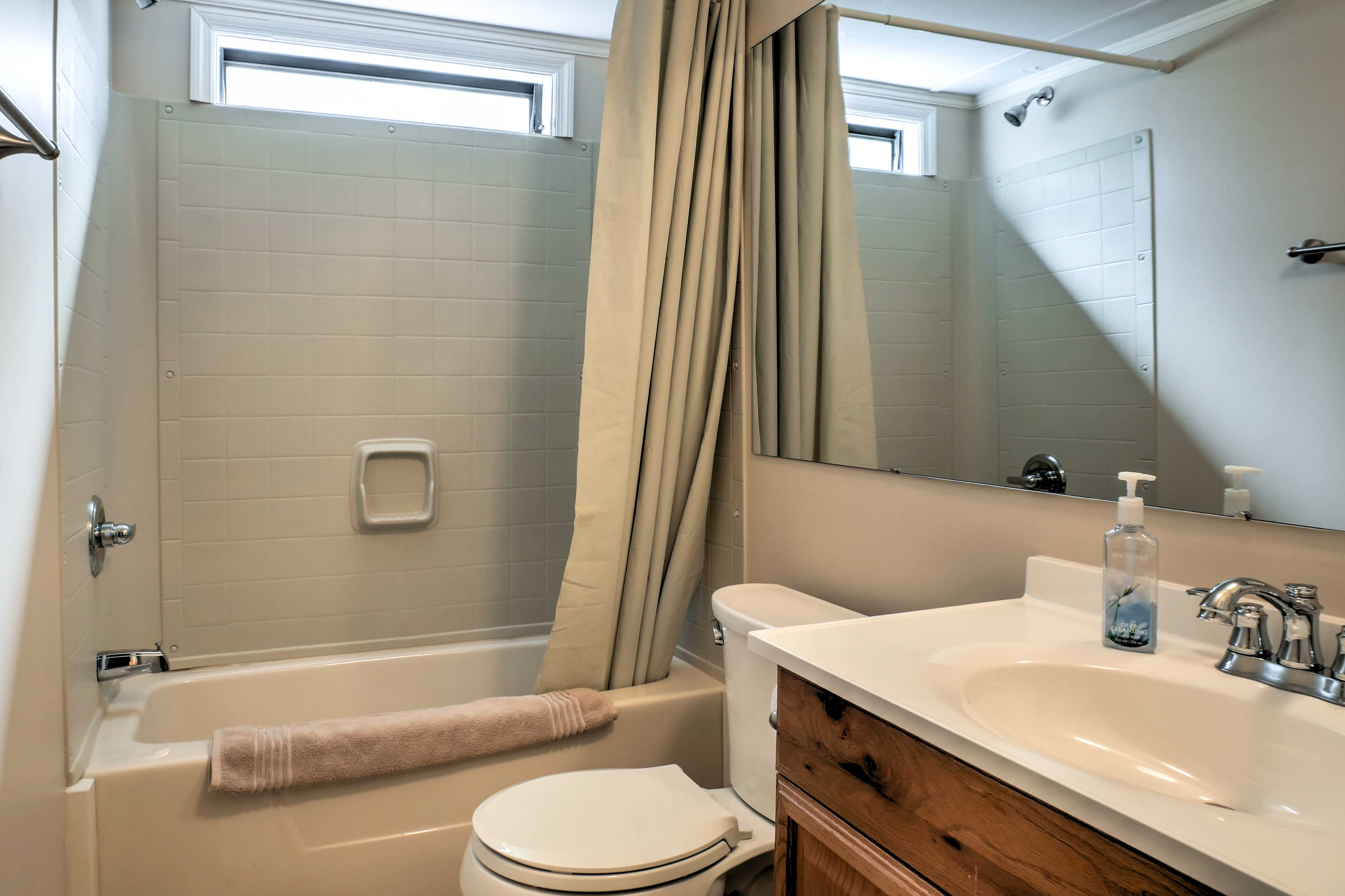 A shower/tub combo completes the first full bathroom.