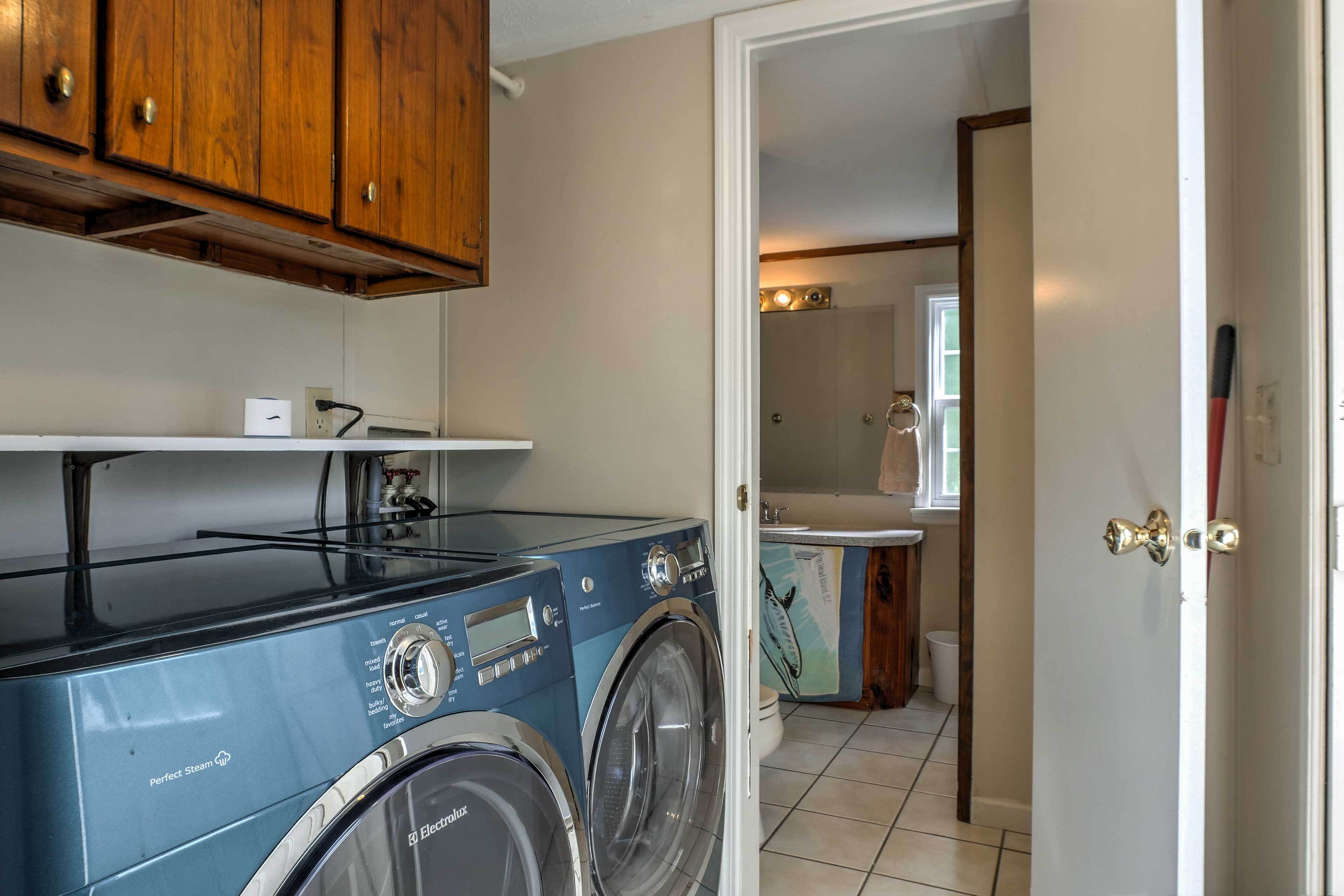Keeping your clothes fresh will be a breeze with the washer and dryer!