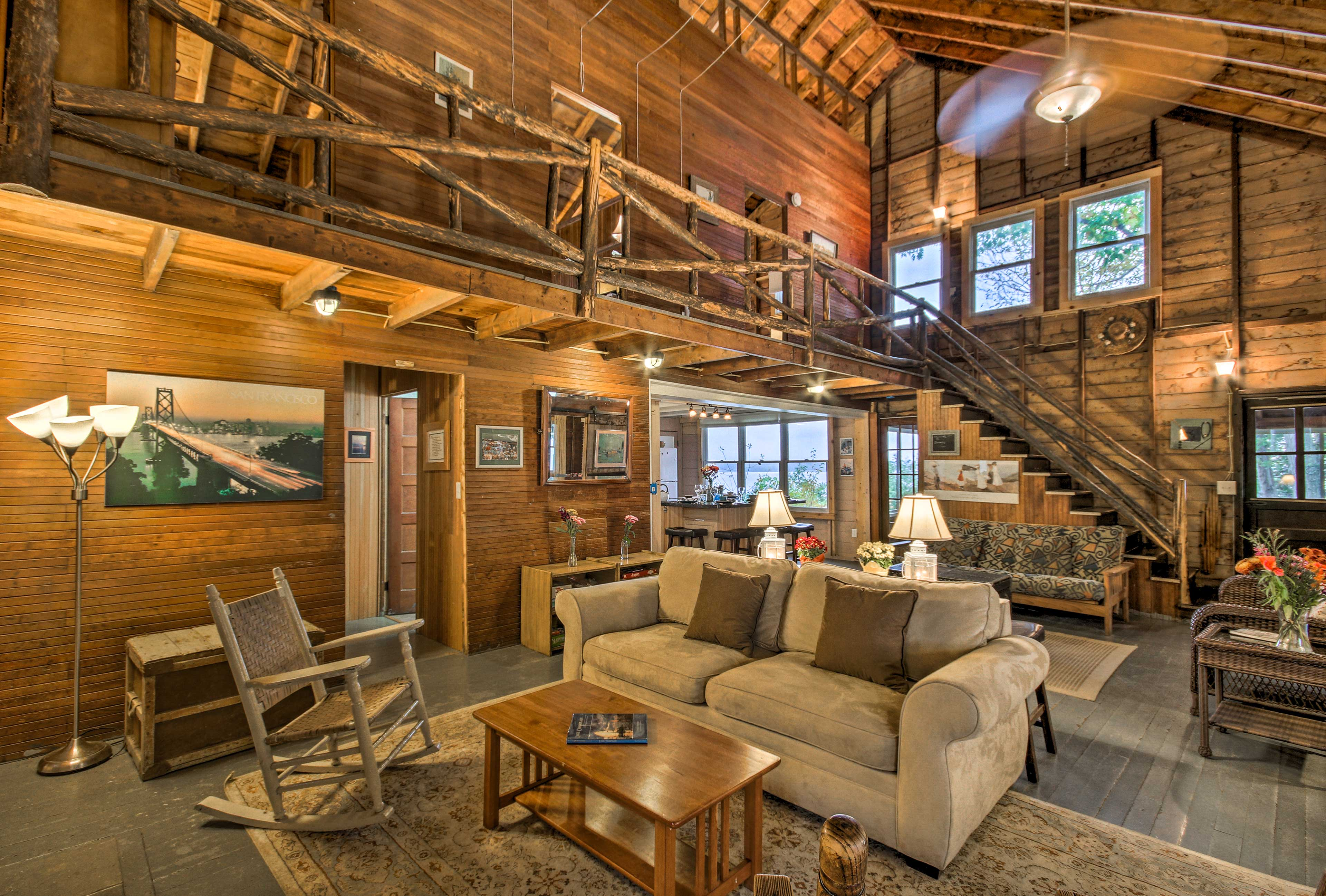 The interior features authentic cedar logs from the home's 1920's construction.