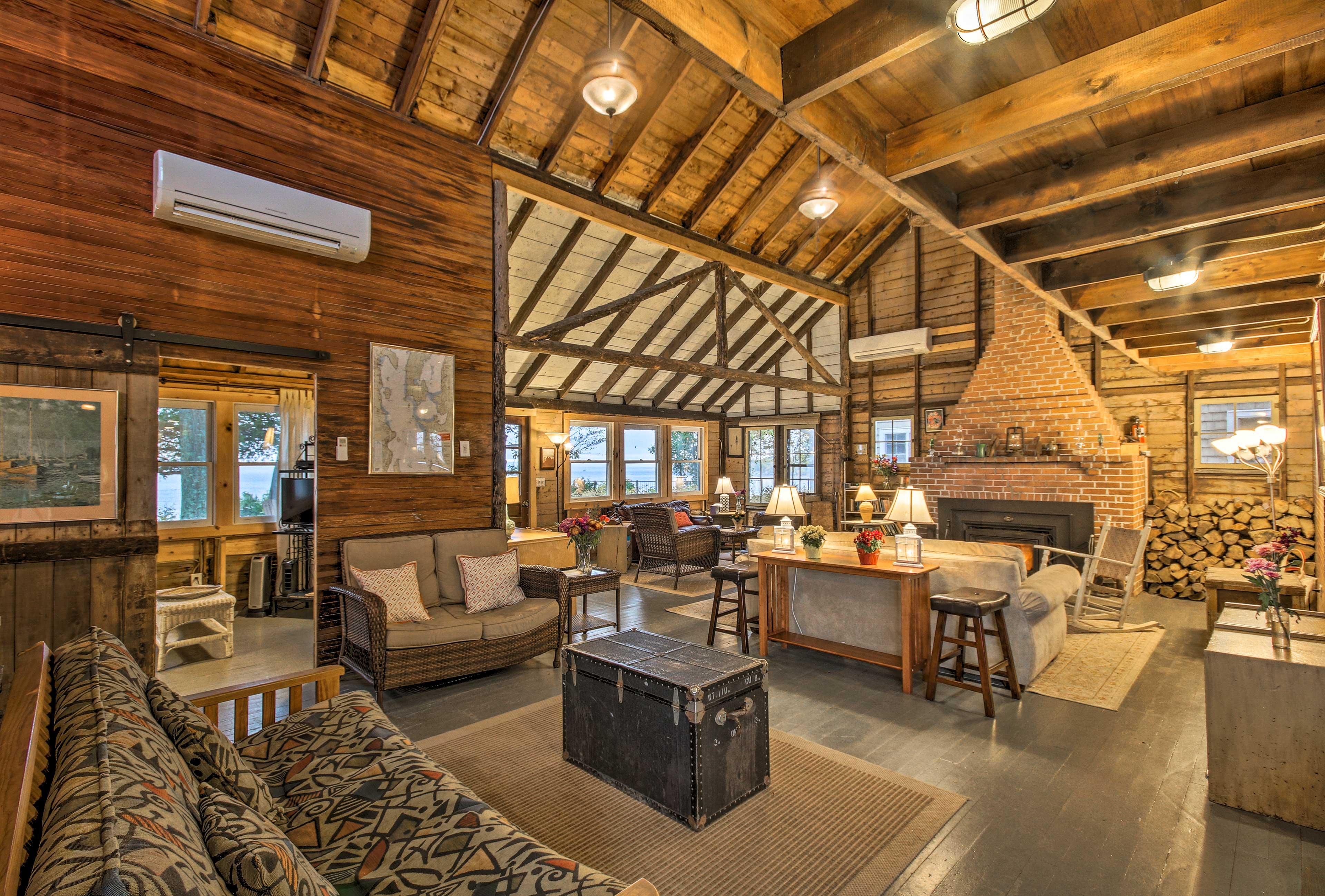 The remarkable wood furnishings enhance the homes rustic, elegant feel.