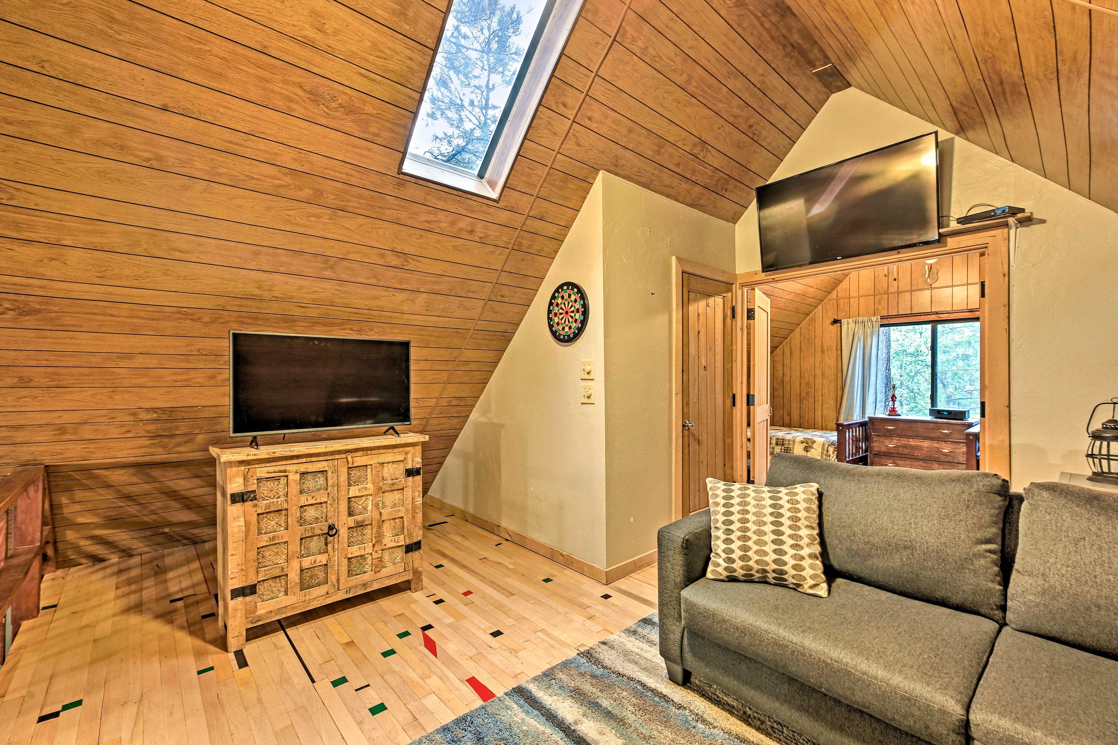Loft | Second Living Room | Dartboard | Half Bath