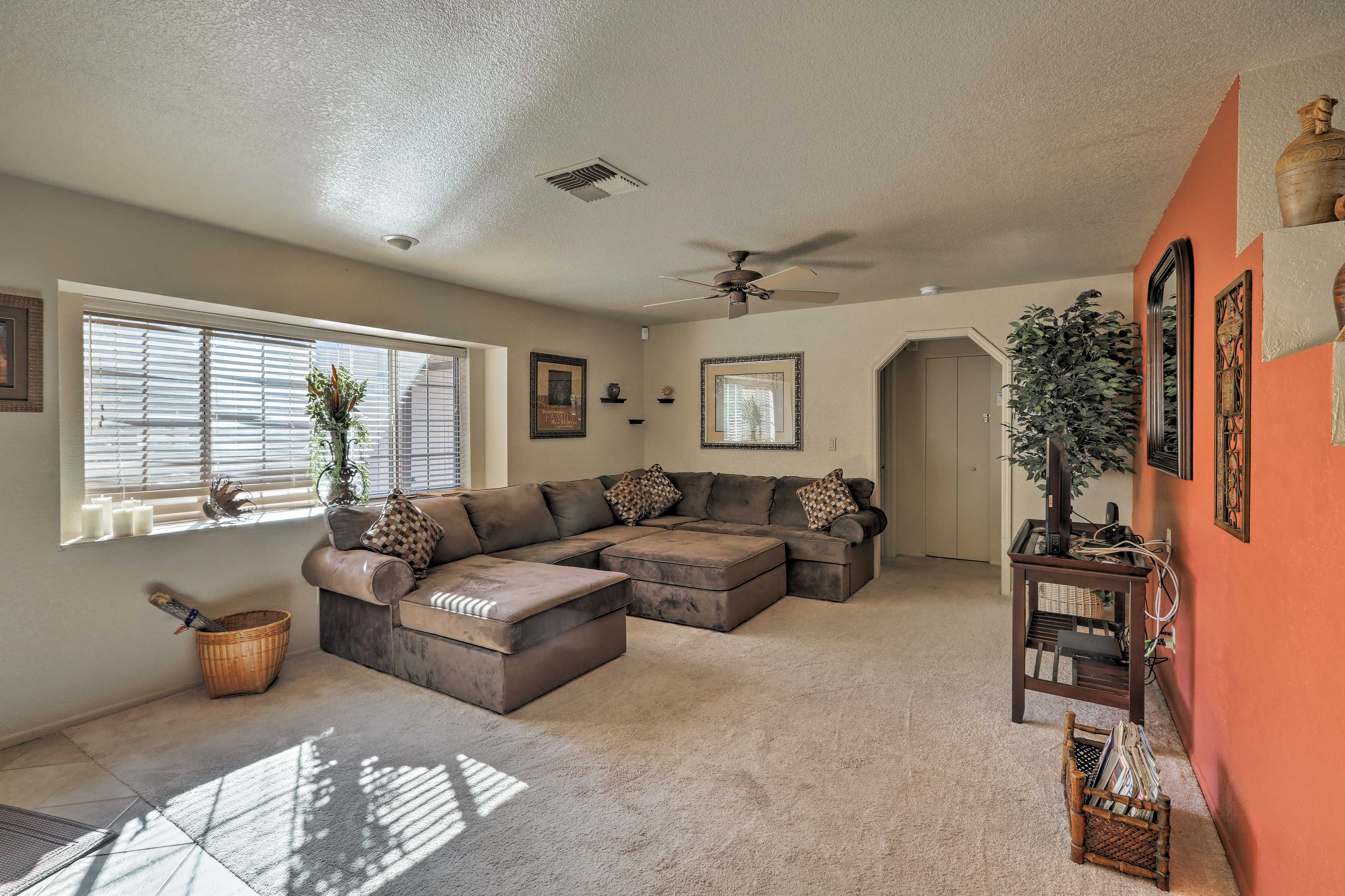 The living room offers tons of seating for everyone in your group.