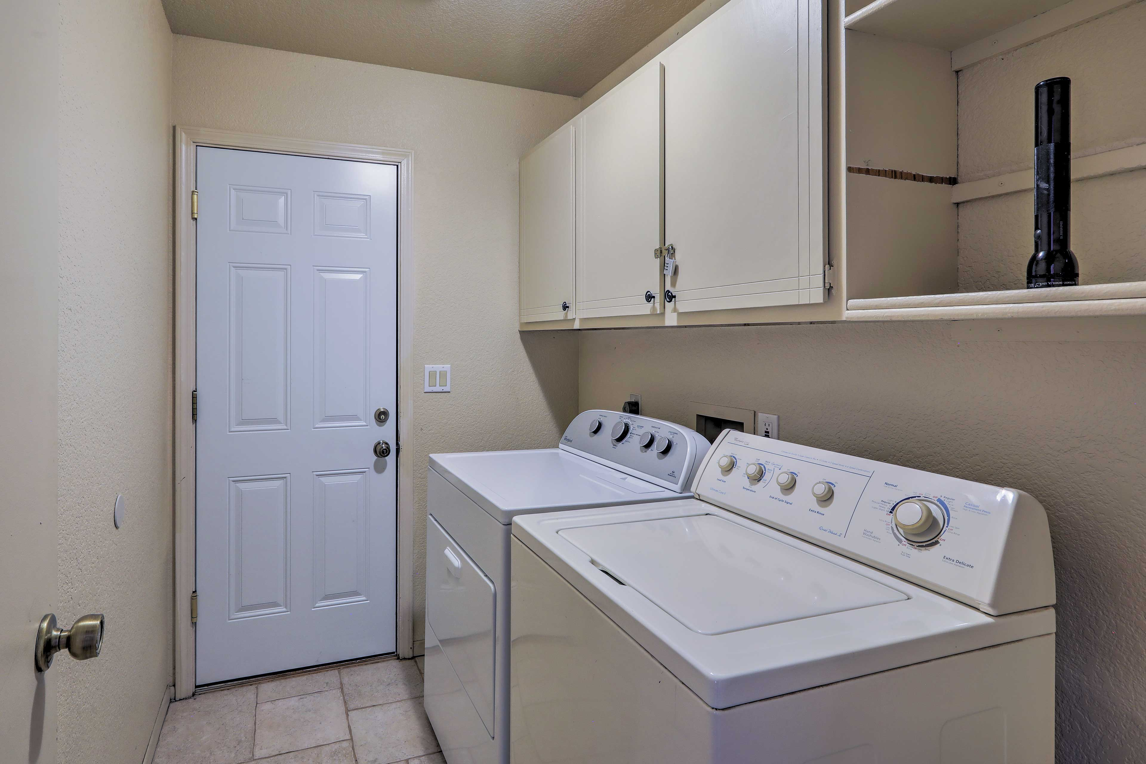 Pack light and clean your clothes with the washer and dryer.