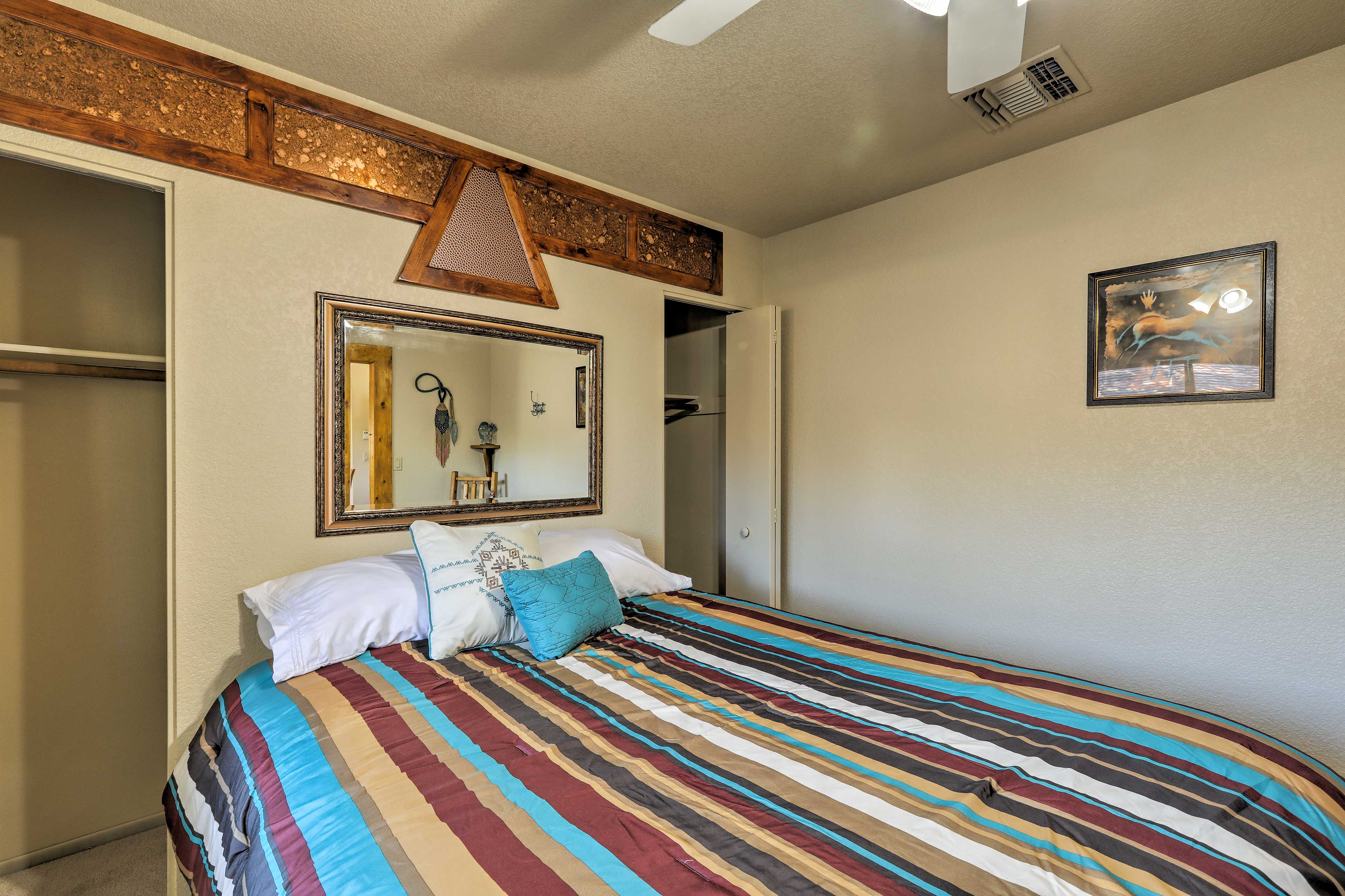 Two guests can claim this queen bed!