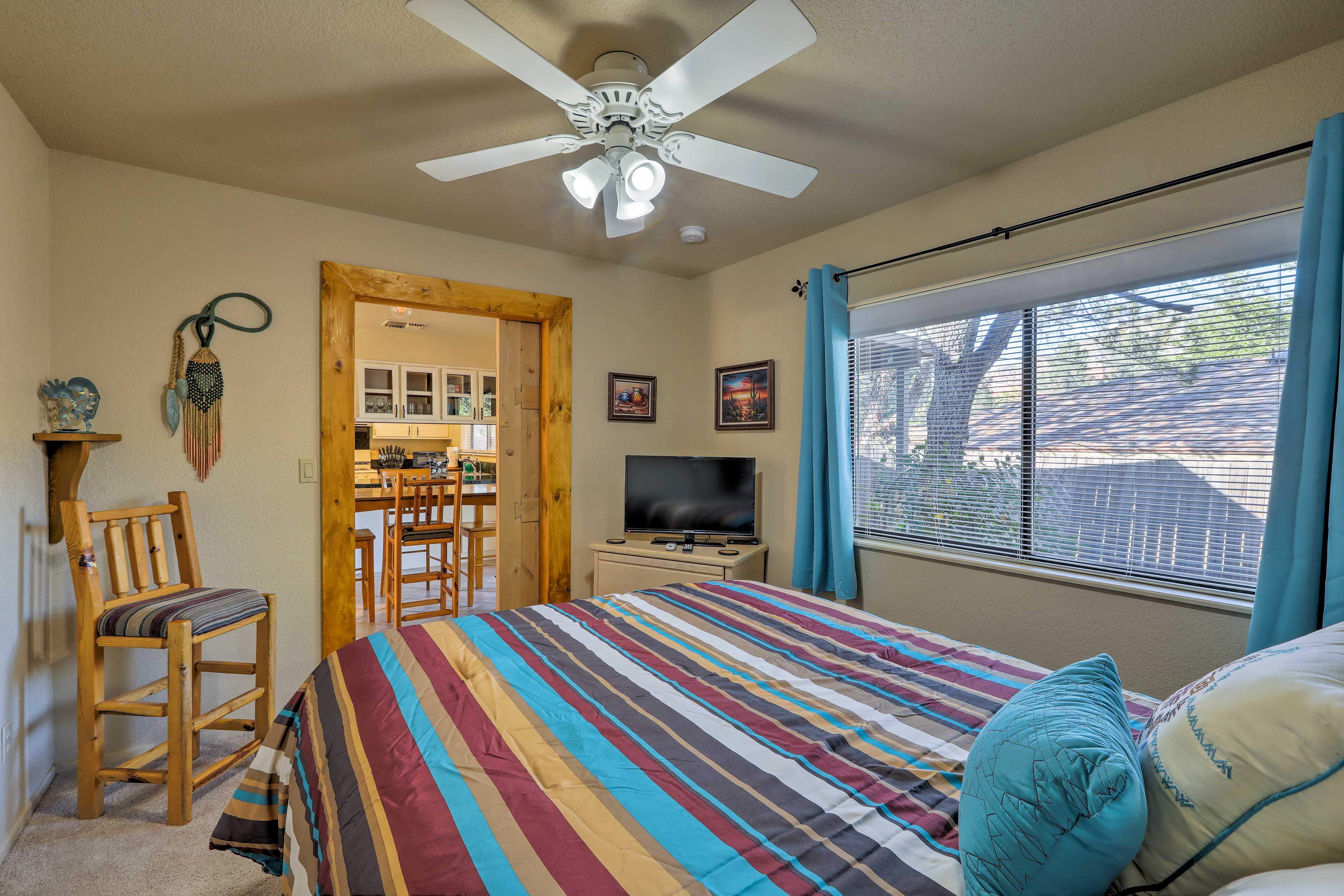 A ceiling fan enusres you stay cool and comfortable at night.