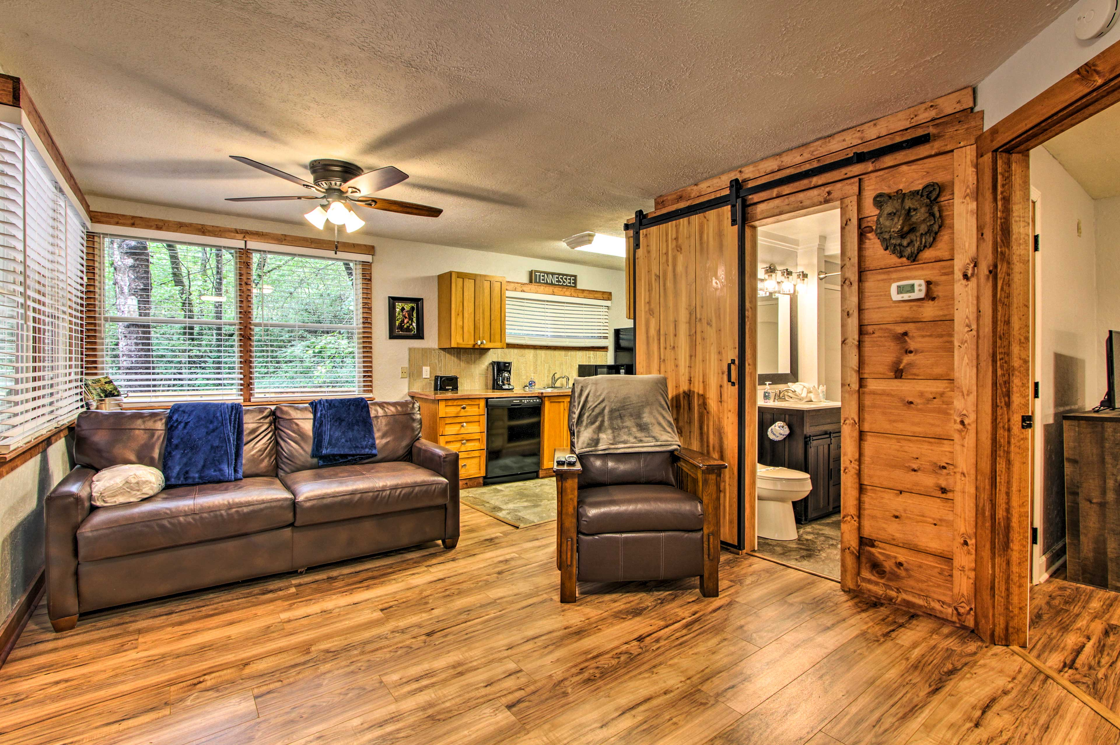 Enjoy a relaxing getaway to this 2-bedroom, 1-bath vacation rental cabin.
