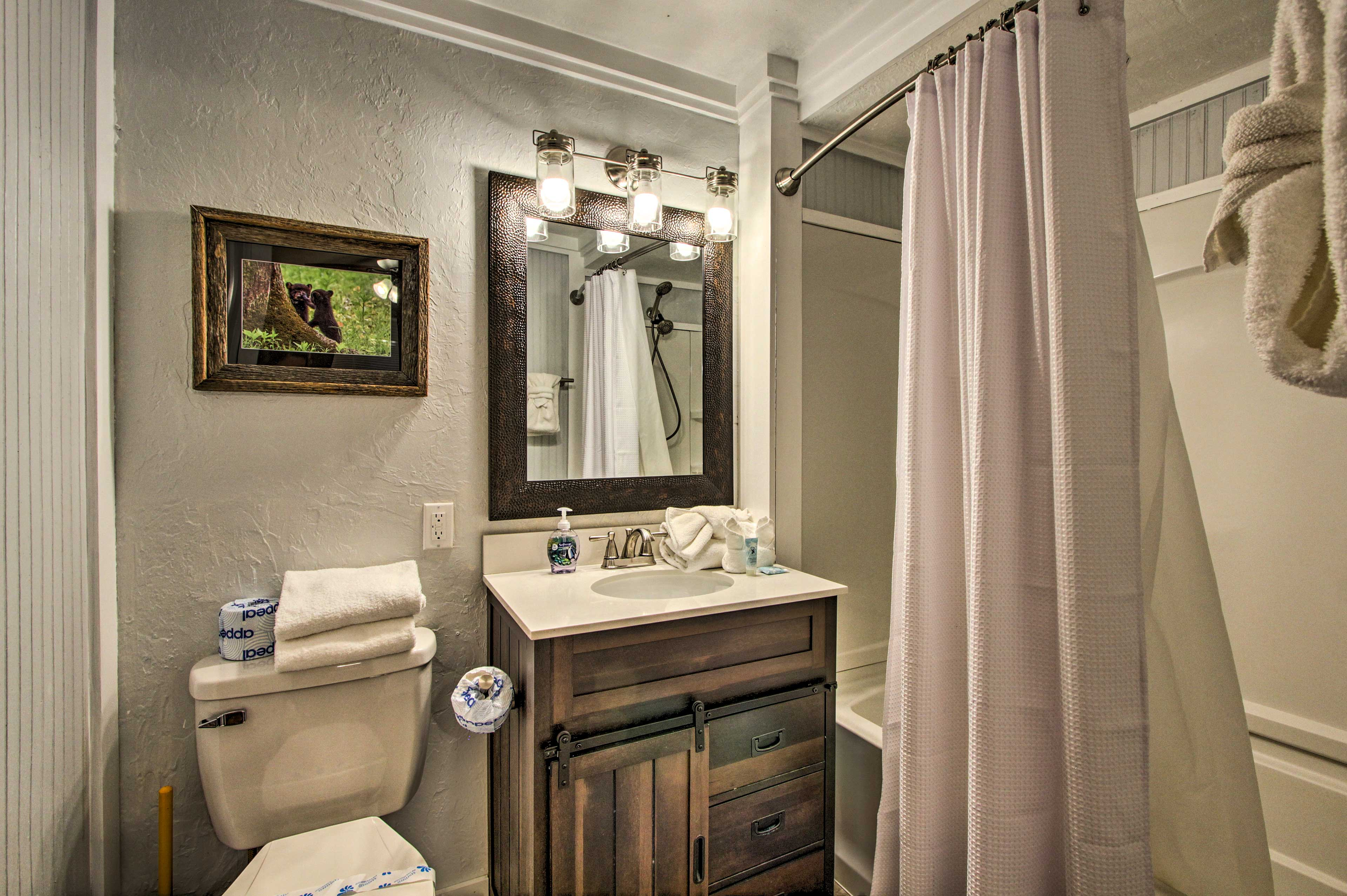 Rinse off the day in this remodeled bathroom.