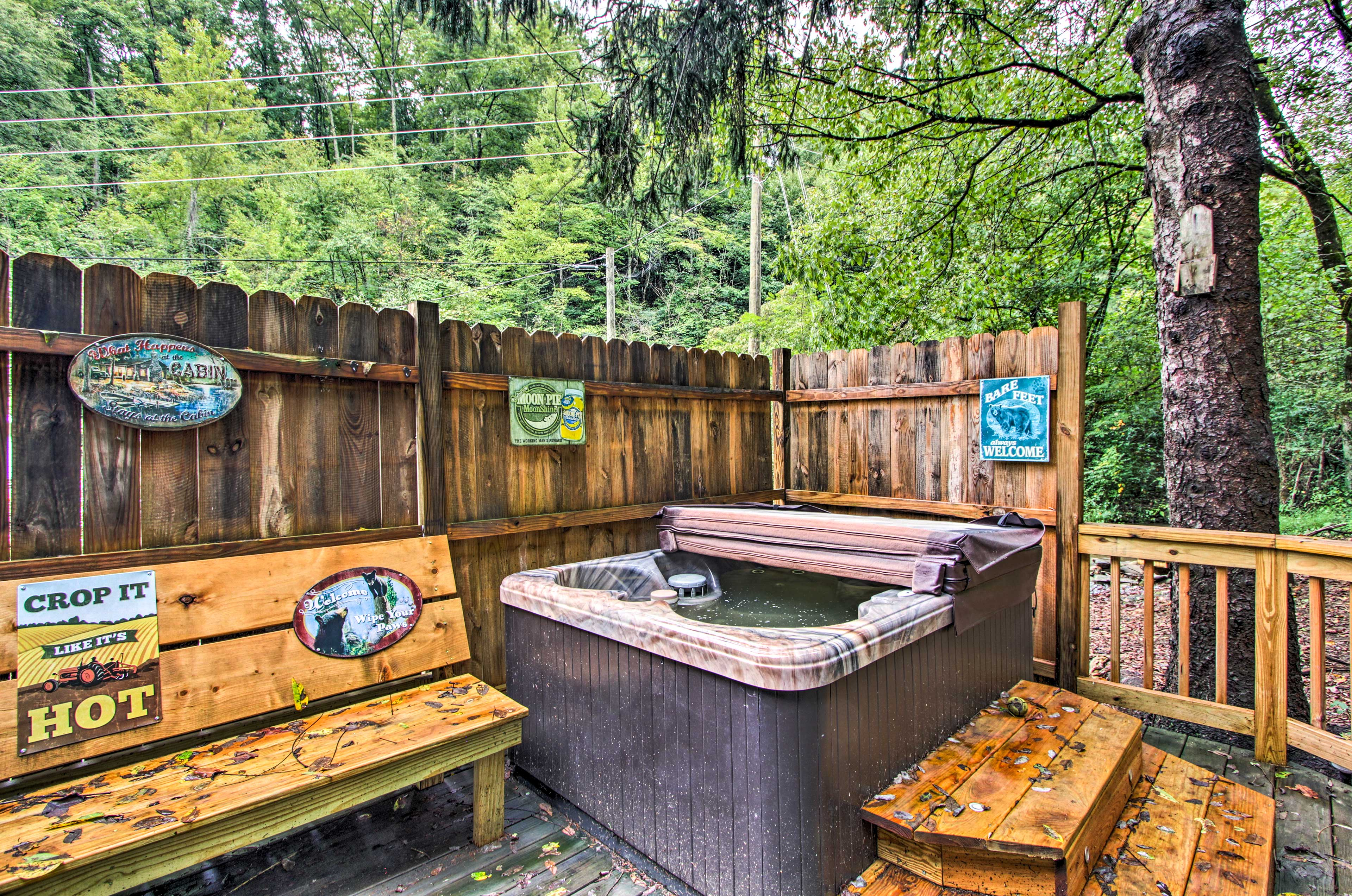The hot tub is ideal after a day of skiing or hiking.