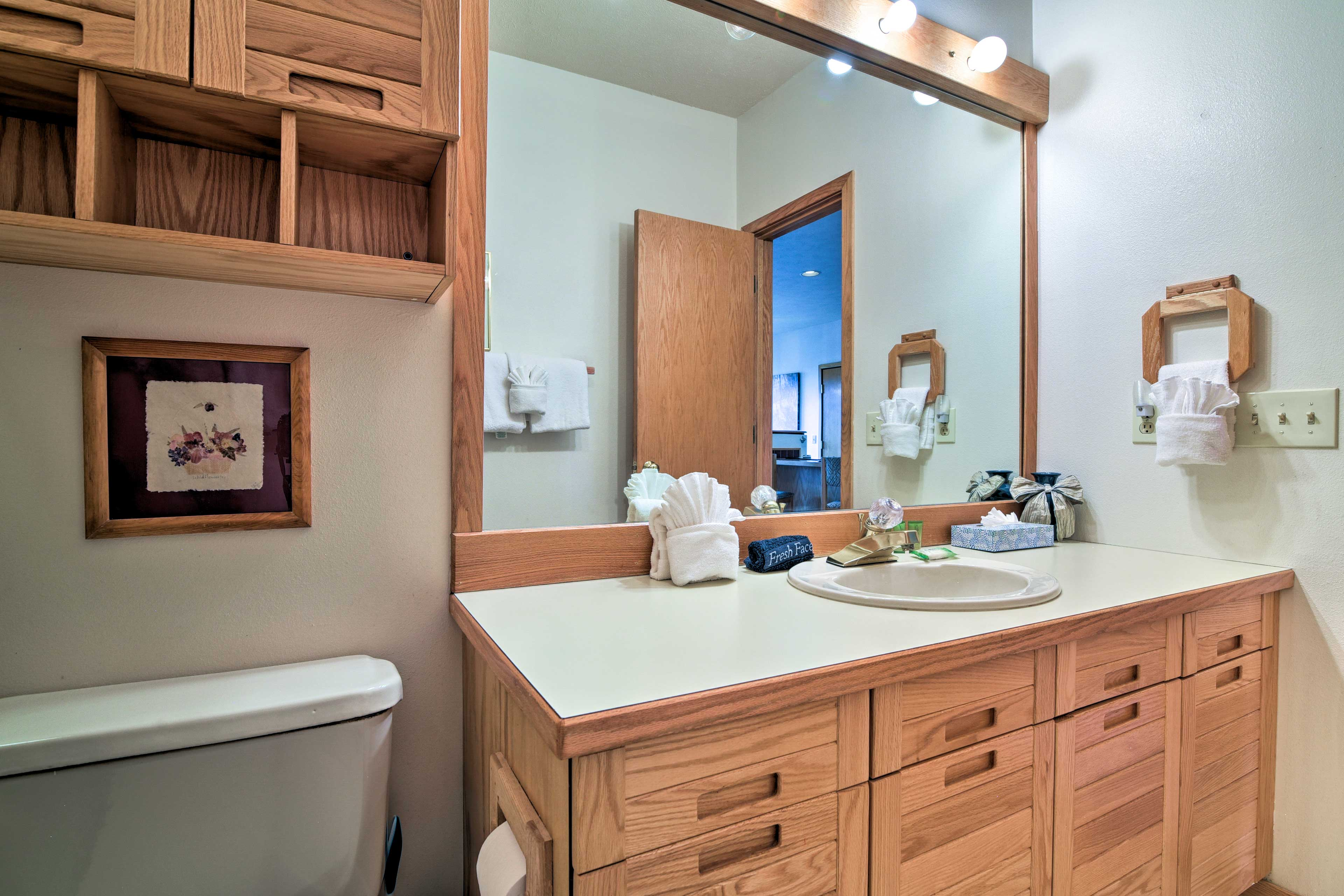 This bathroom is located just off of the living area.