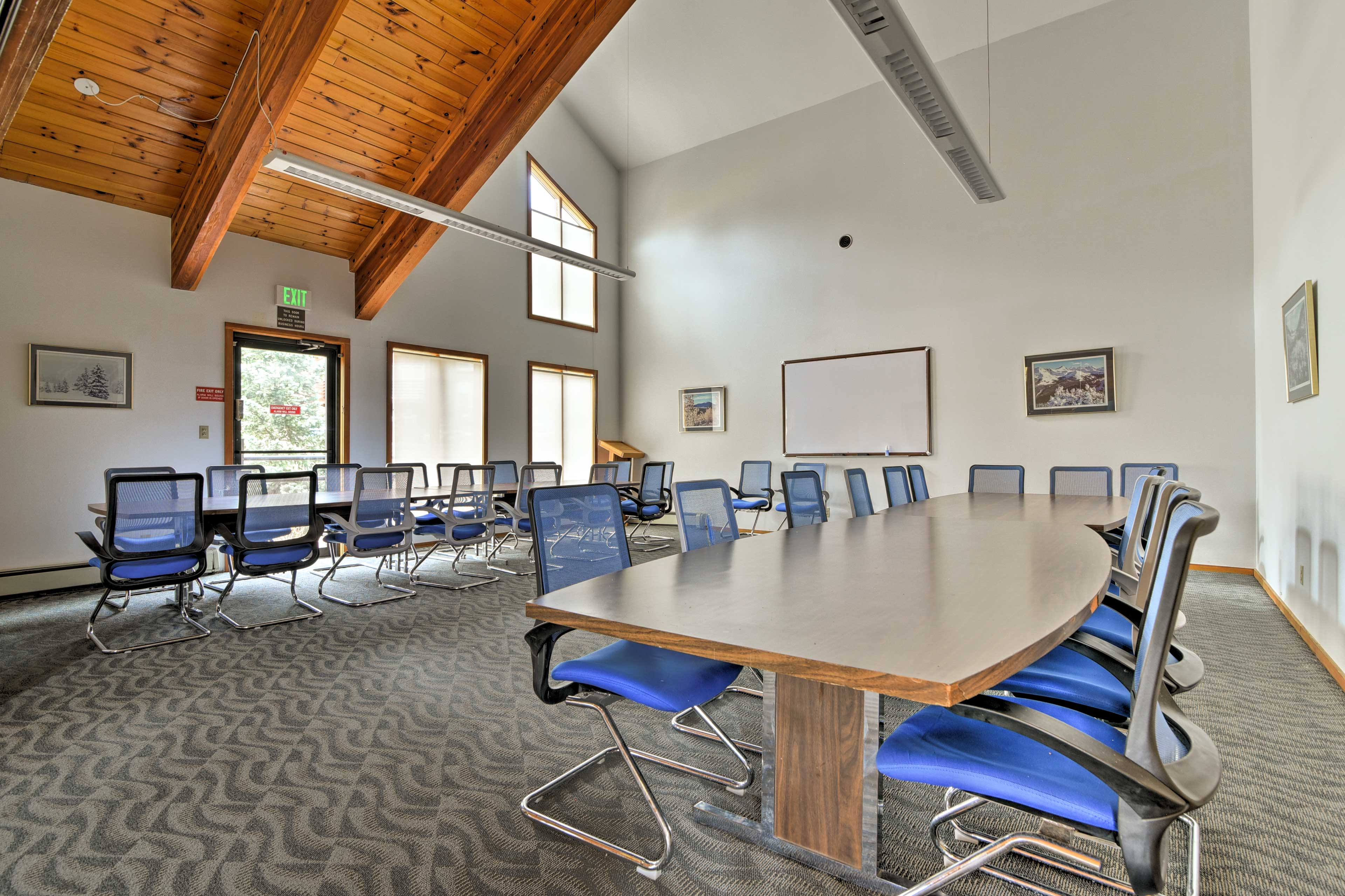 Put your nose to the grindstone in the conference room.