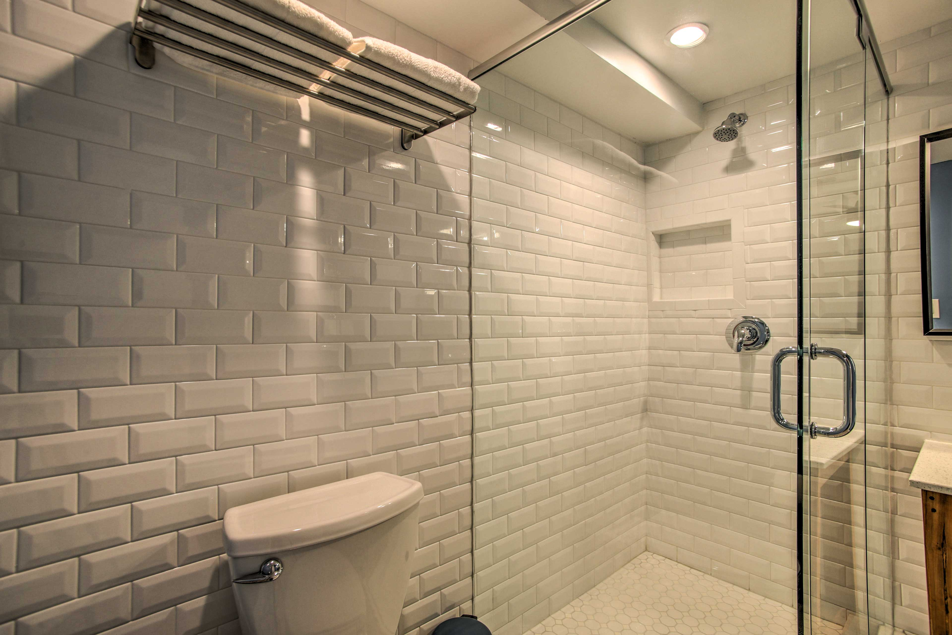 Rise and shine with a refreshing rinse in the walk-in shower.