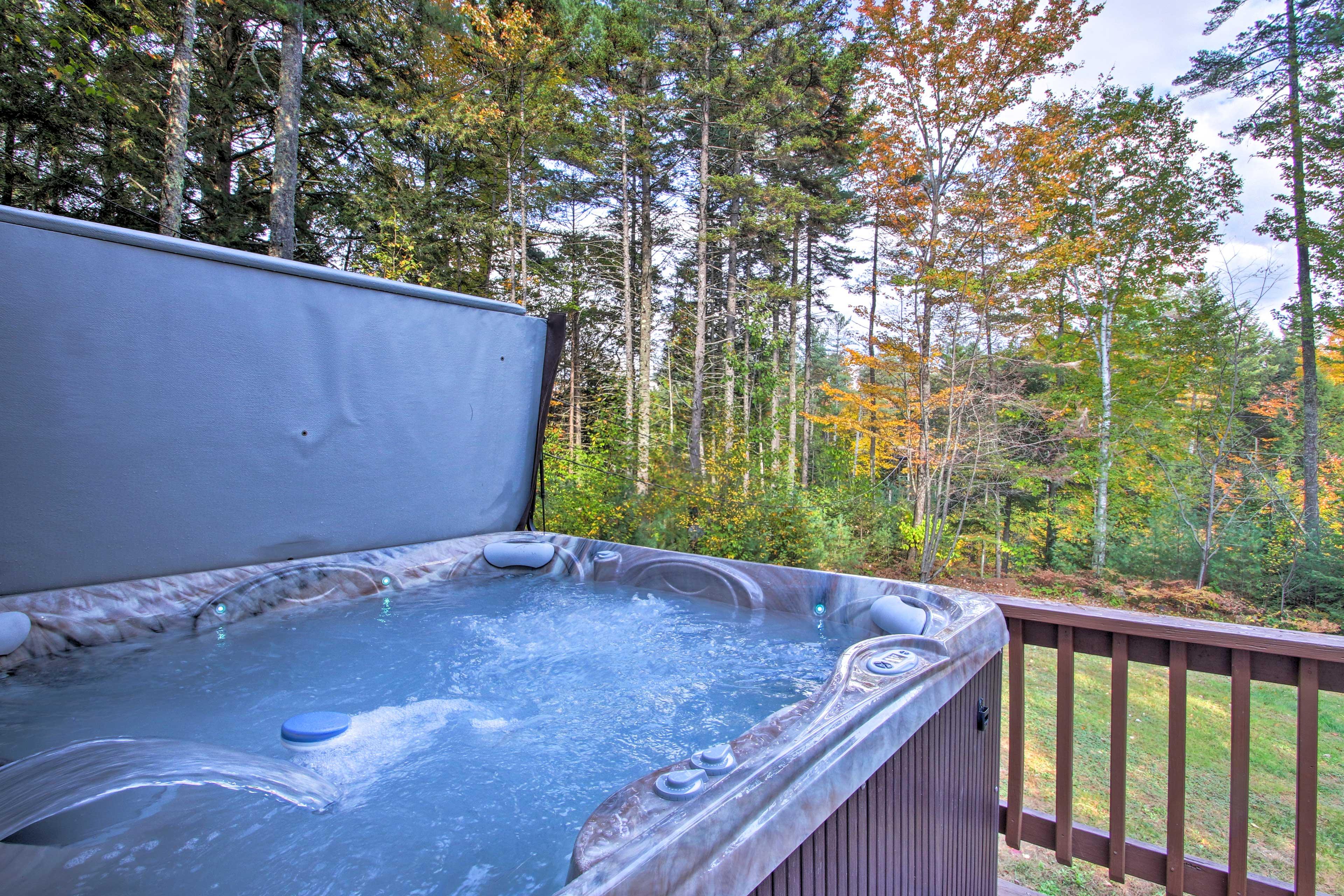 Soak your sore ski legs in the home's private 7-person hot tub!