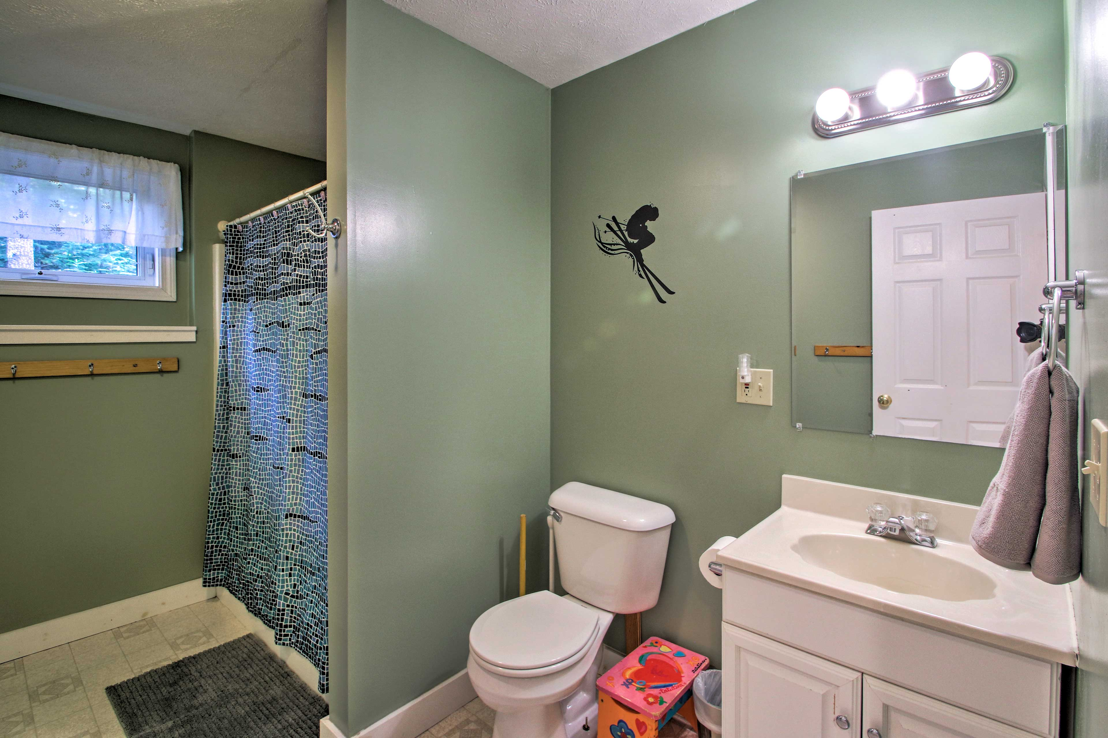 End the day with a hot shower in the second full bathroom.