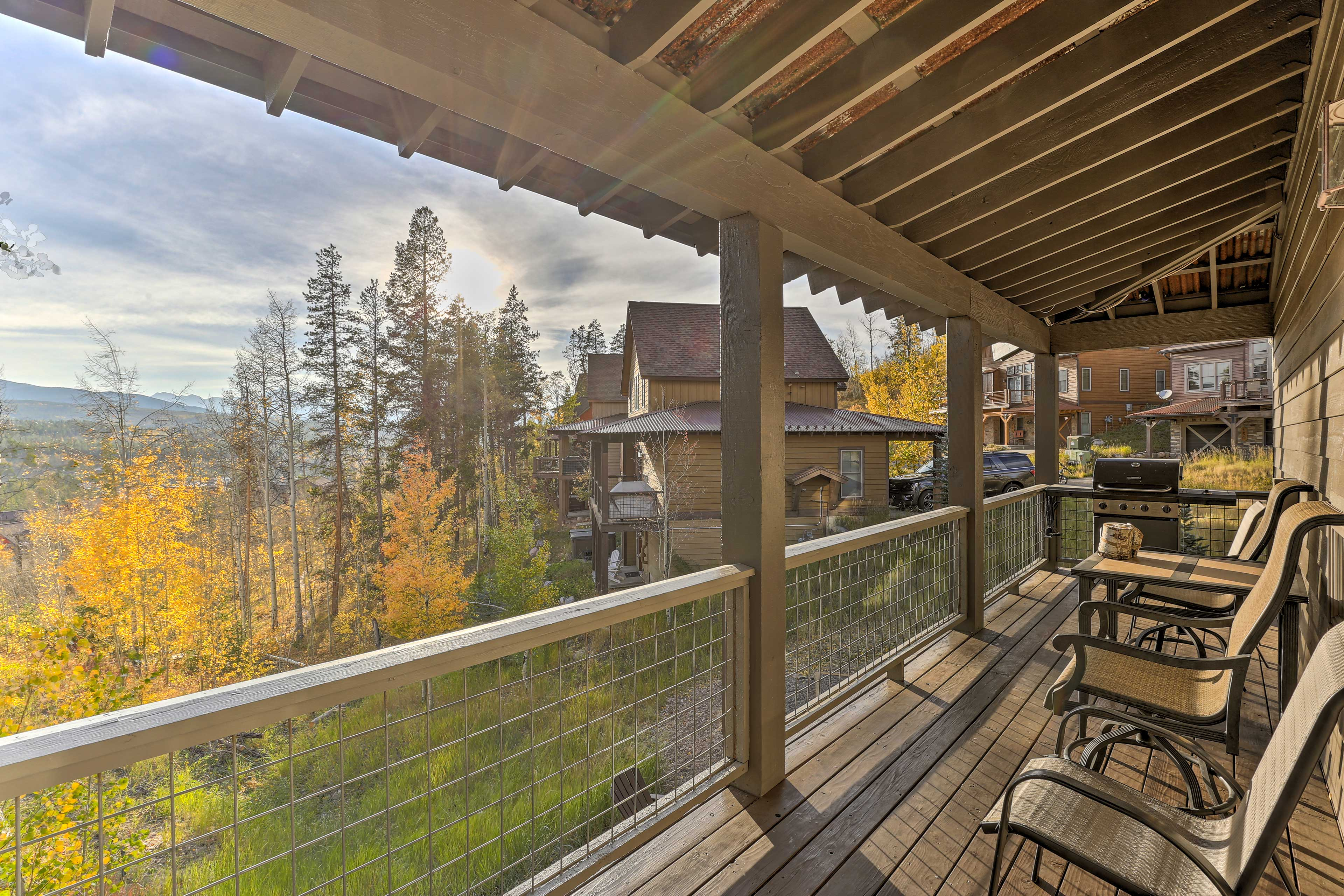 This lovely outdoor space overlooks the mountains.