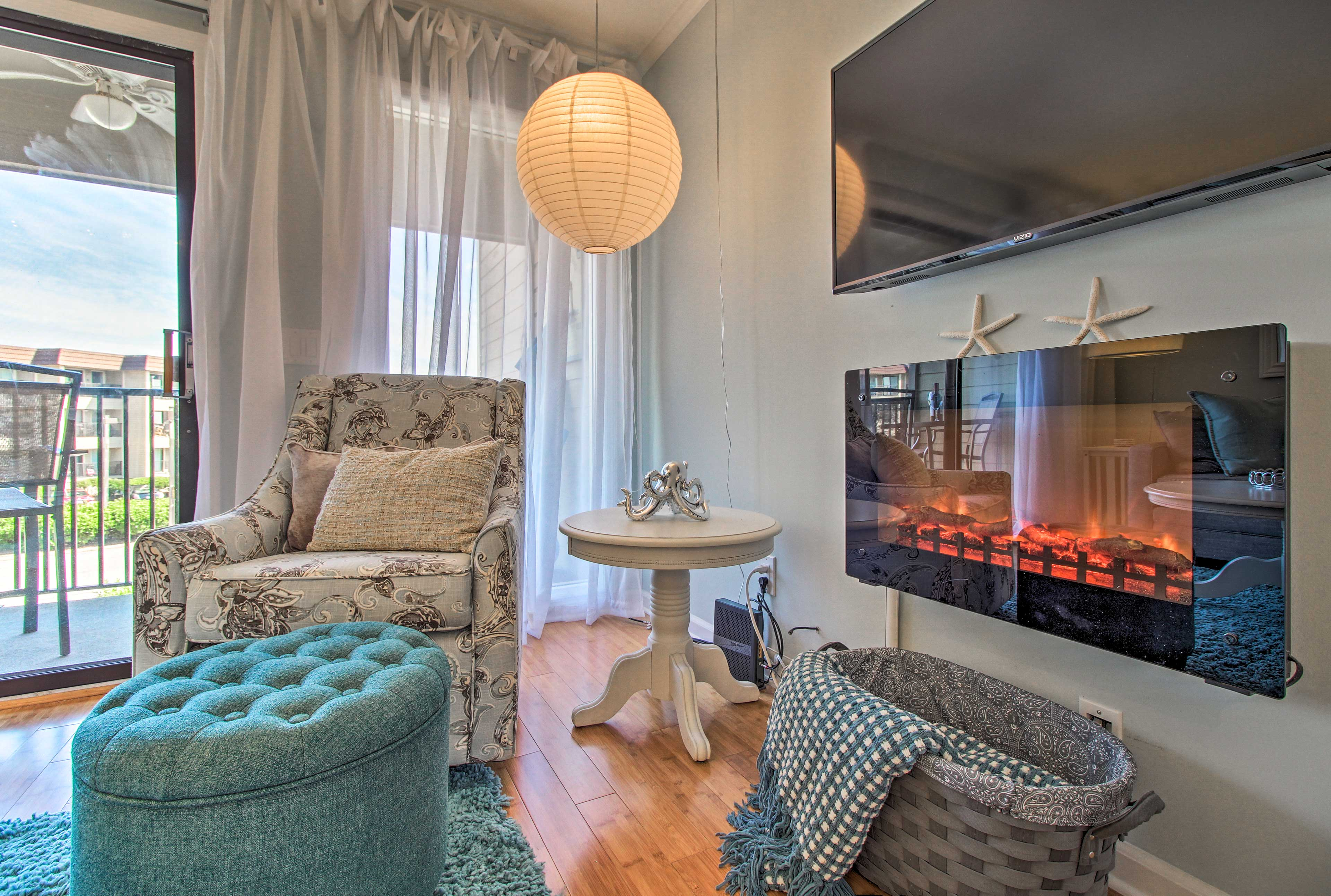Turn on the electric fireplace for cozy evenings in.