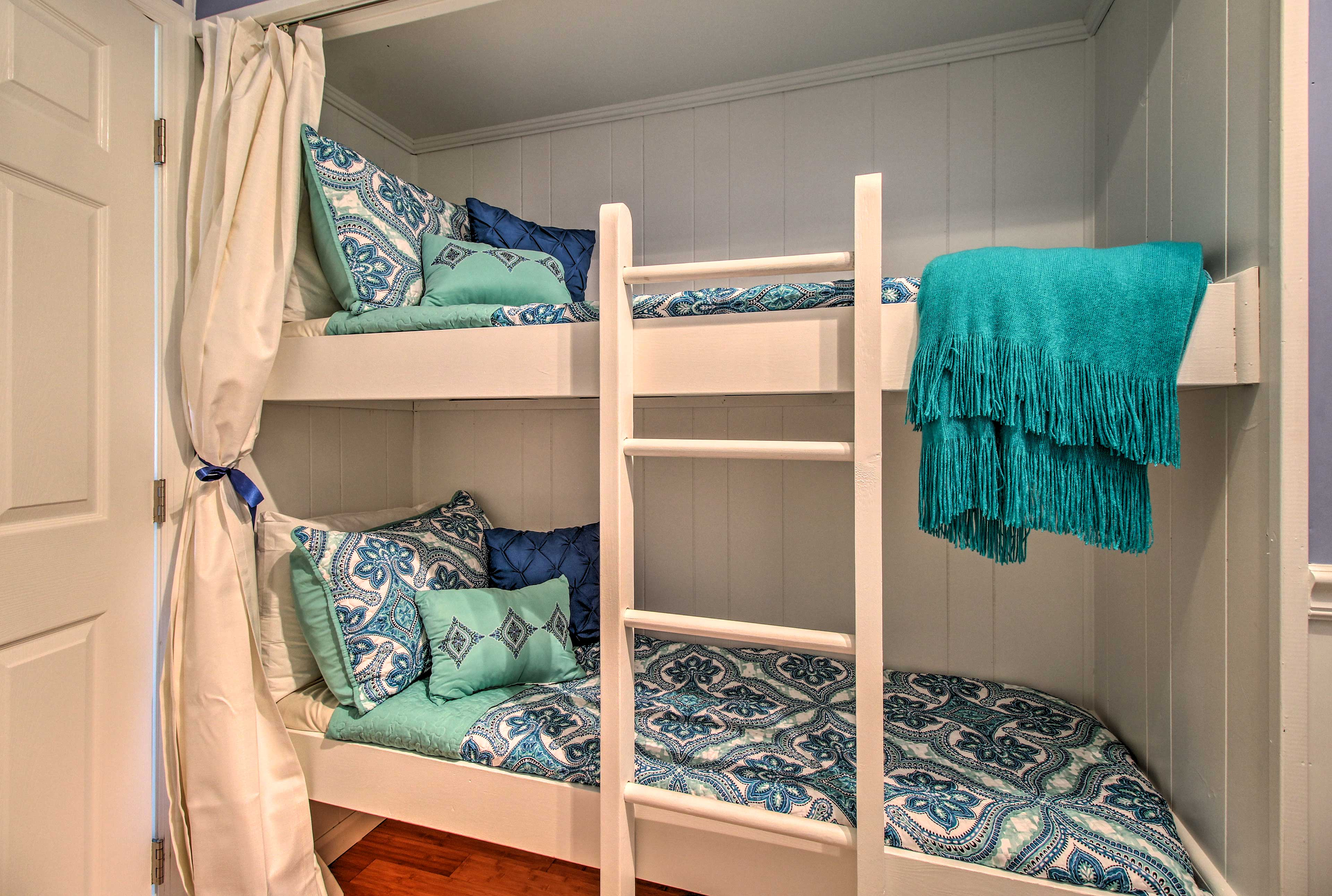 Shut the curtain for more privacy in the bunk beds.