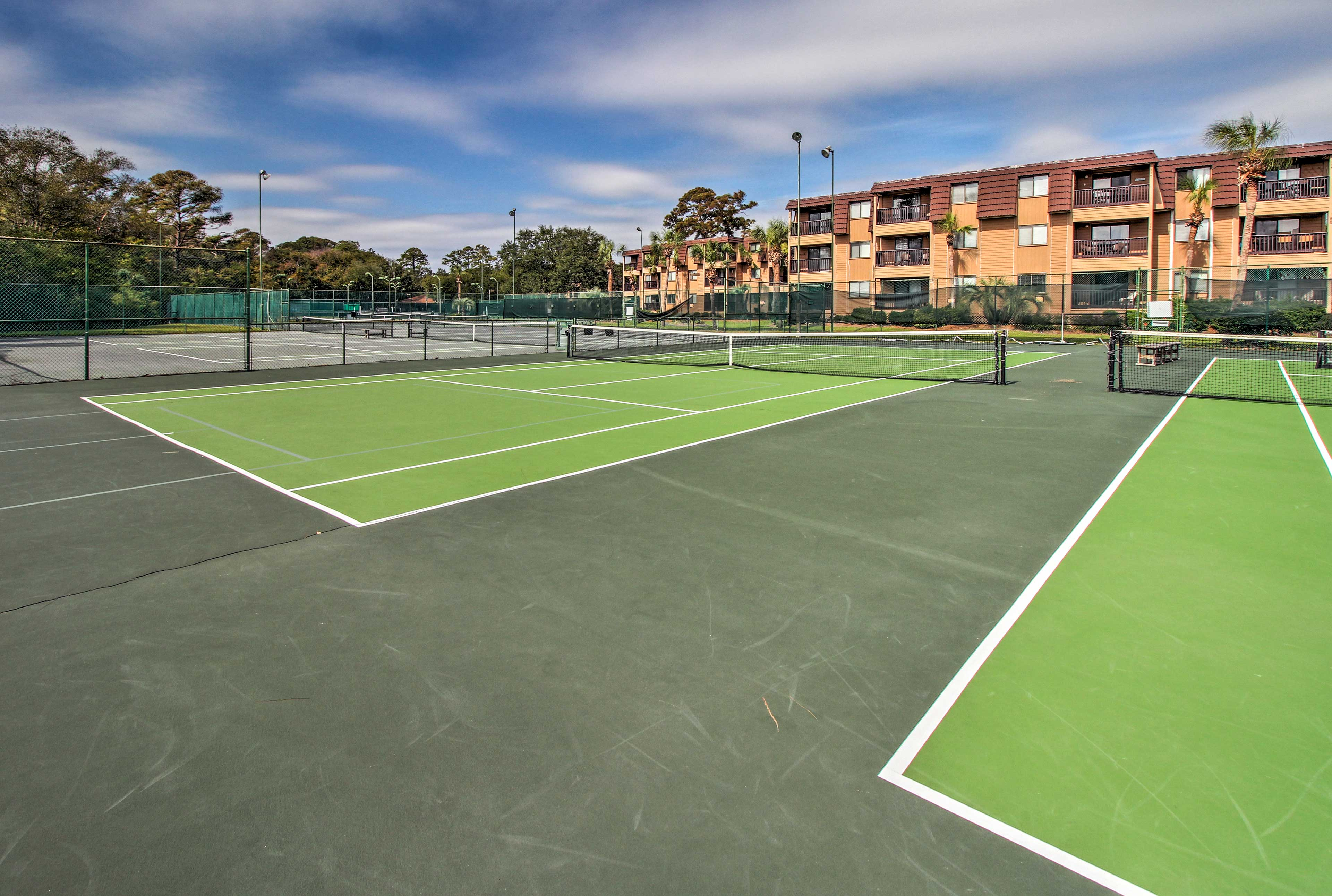 Play a friendly game of tennis.