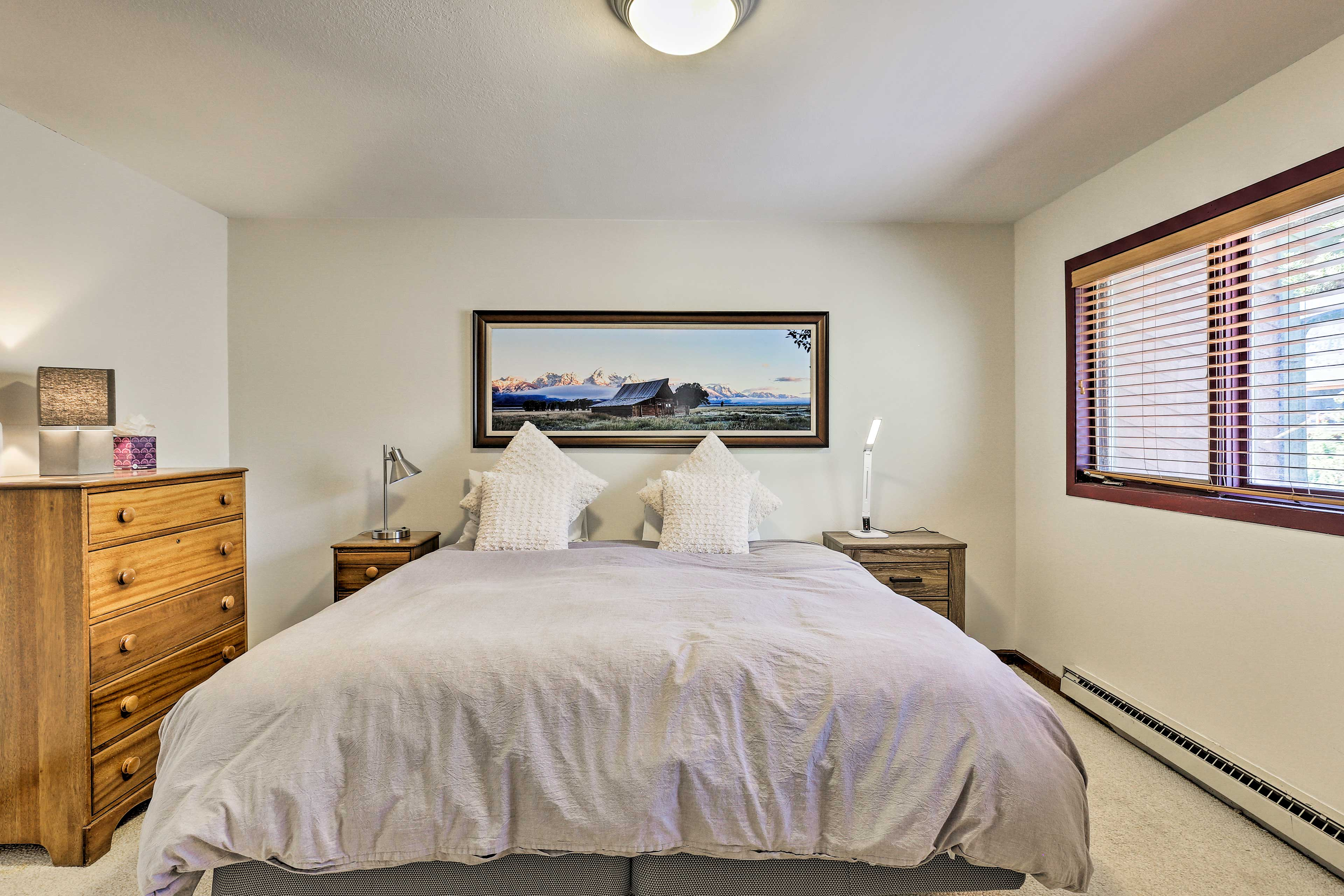 Sink into the king bed in the first bedroom.