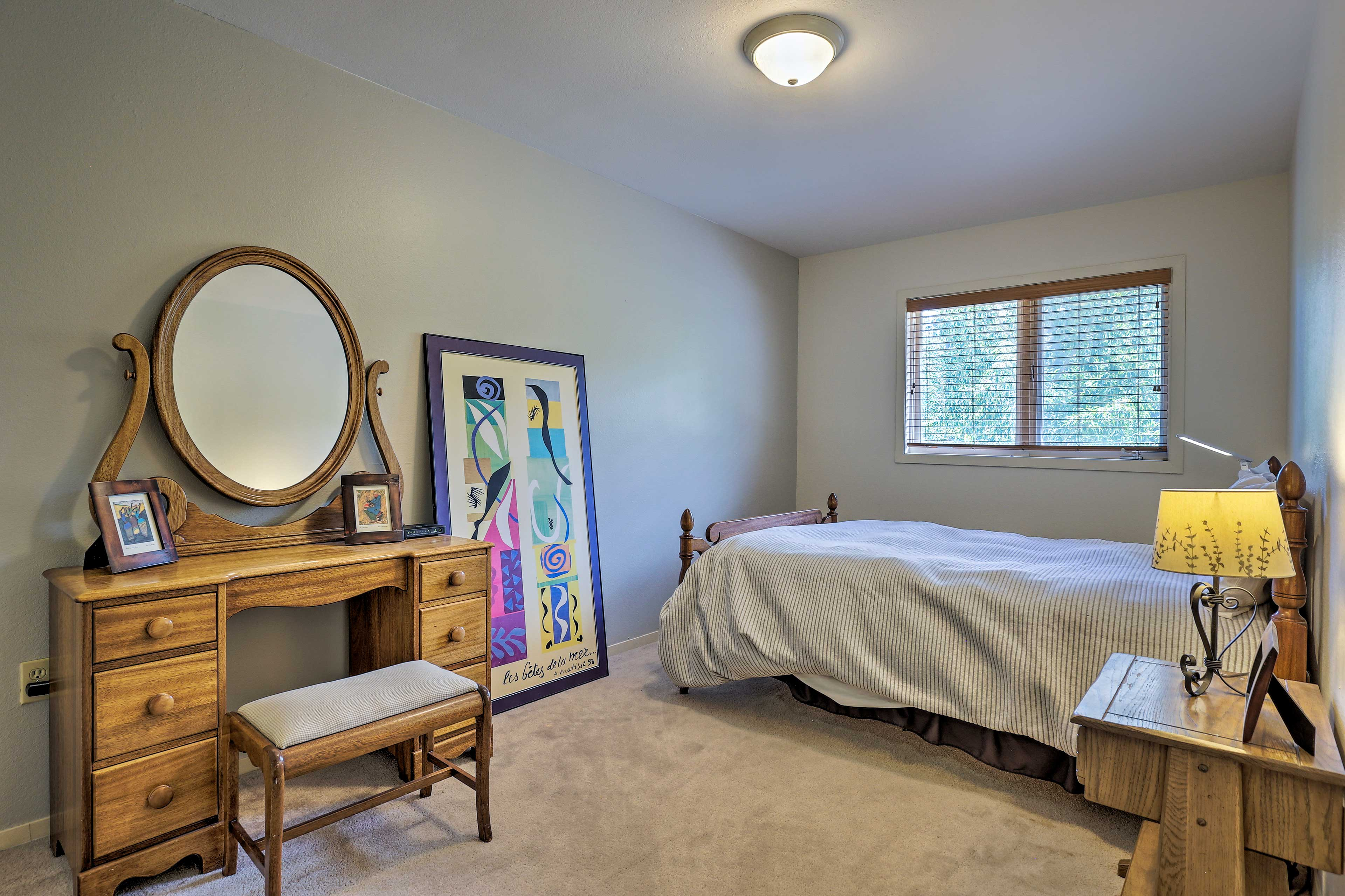 The second bedroom has a queen mattress for 2 guests.