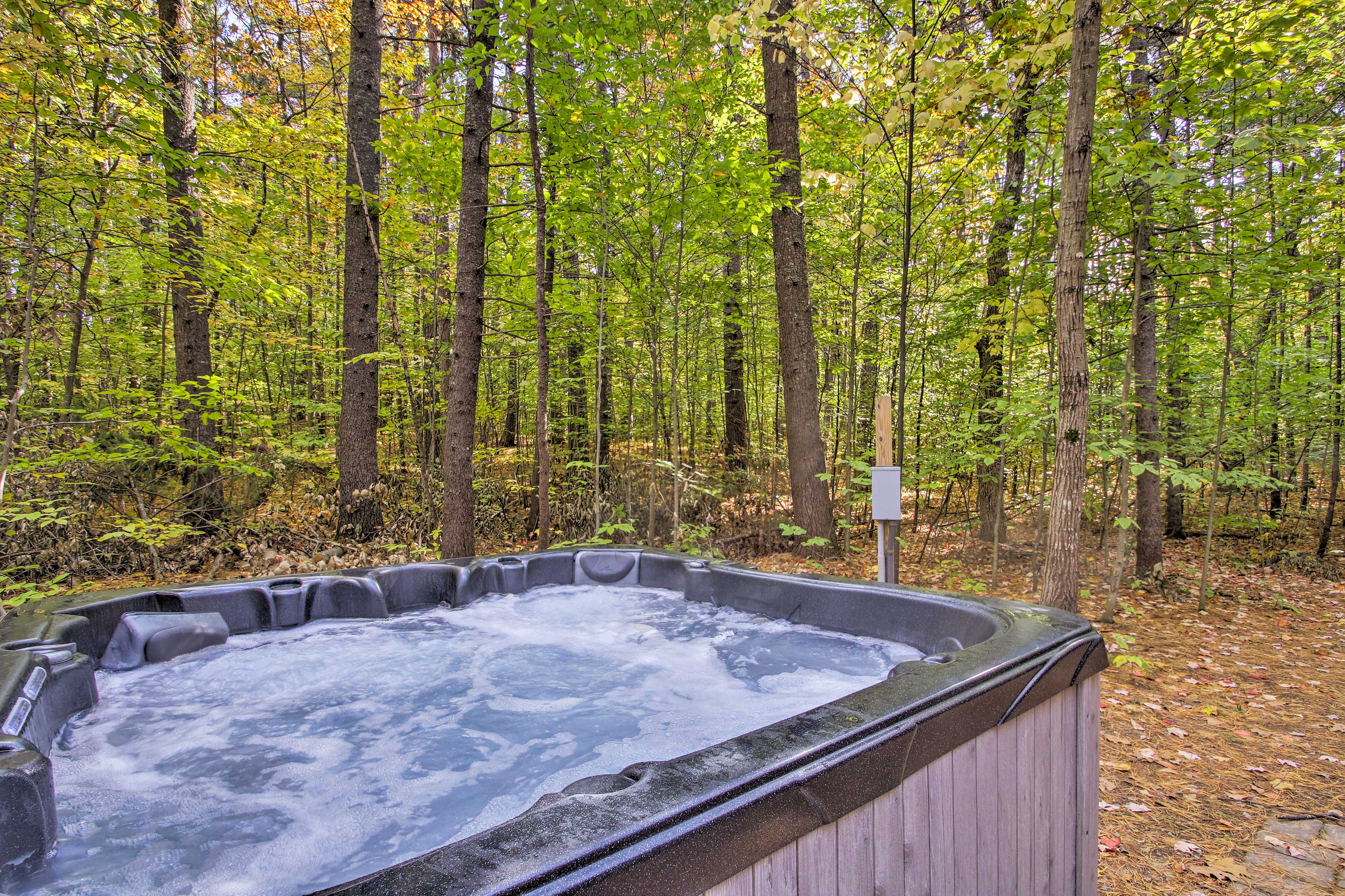 End each day with a long soak in the private hot tub.