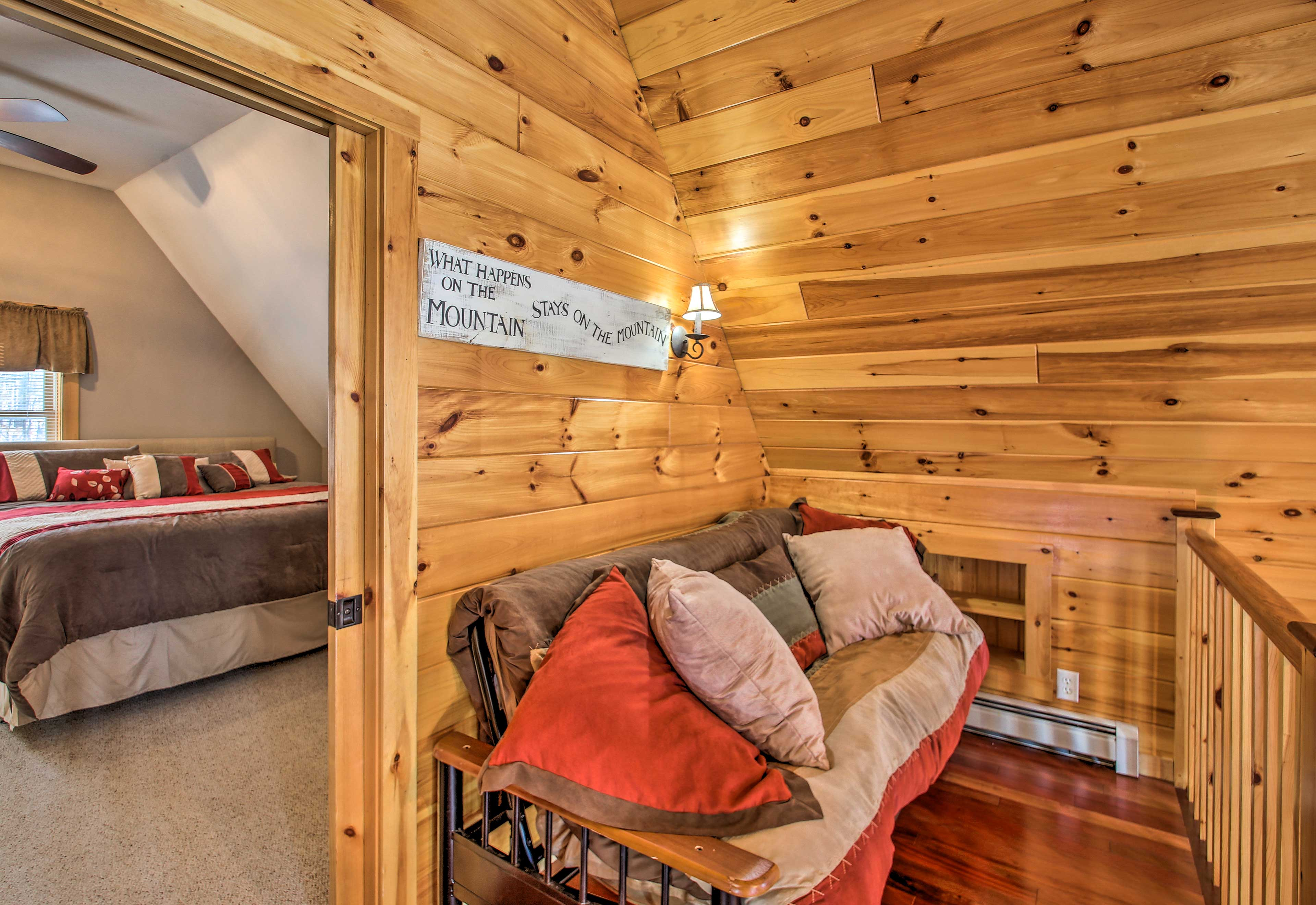 Head upstairs to the loft, which offers a full-sized futon.