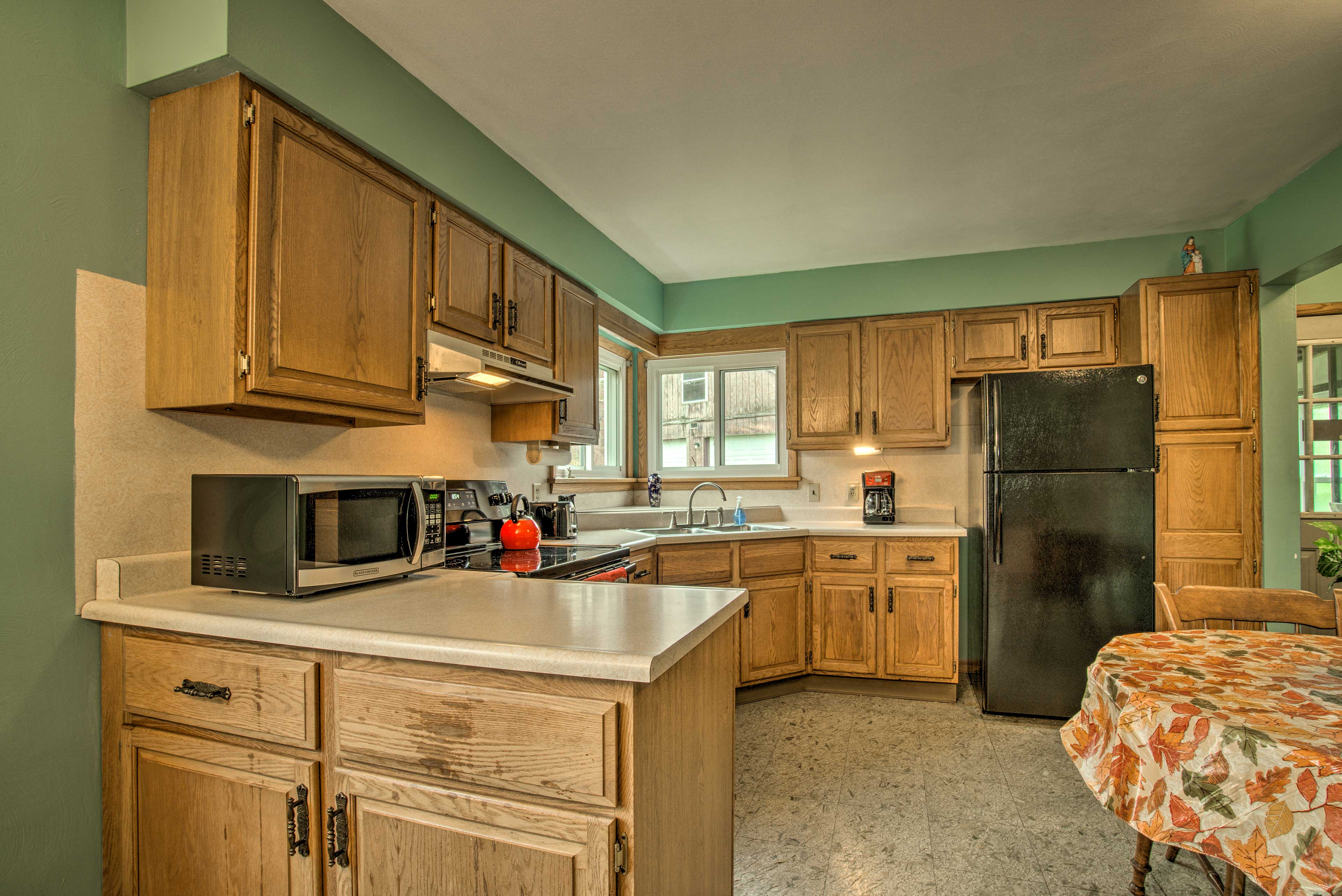 Ample counter space and essential appliances make cooking easy!