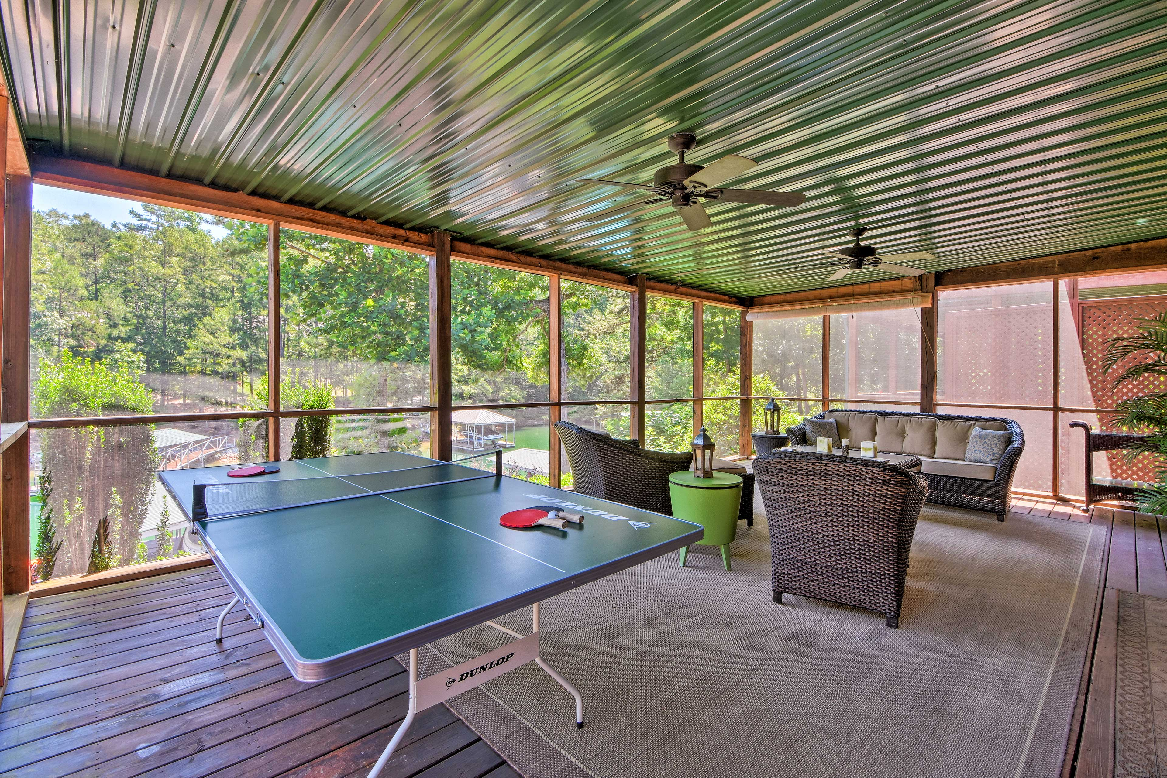 Challenge fellow travelers to a game of ping pong on the new table.