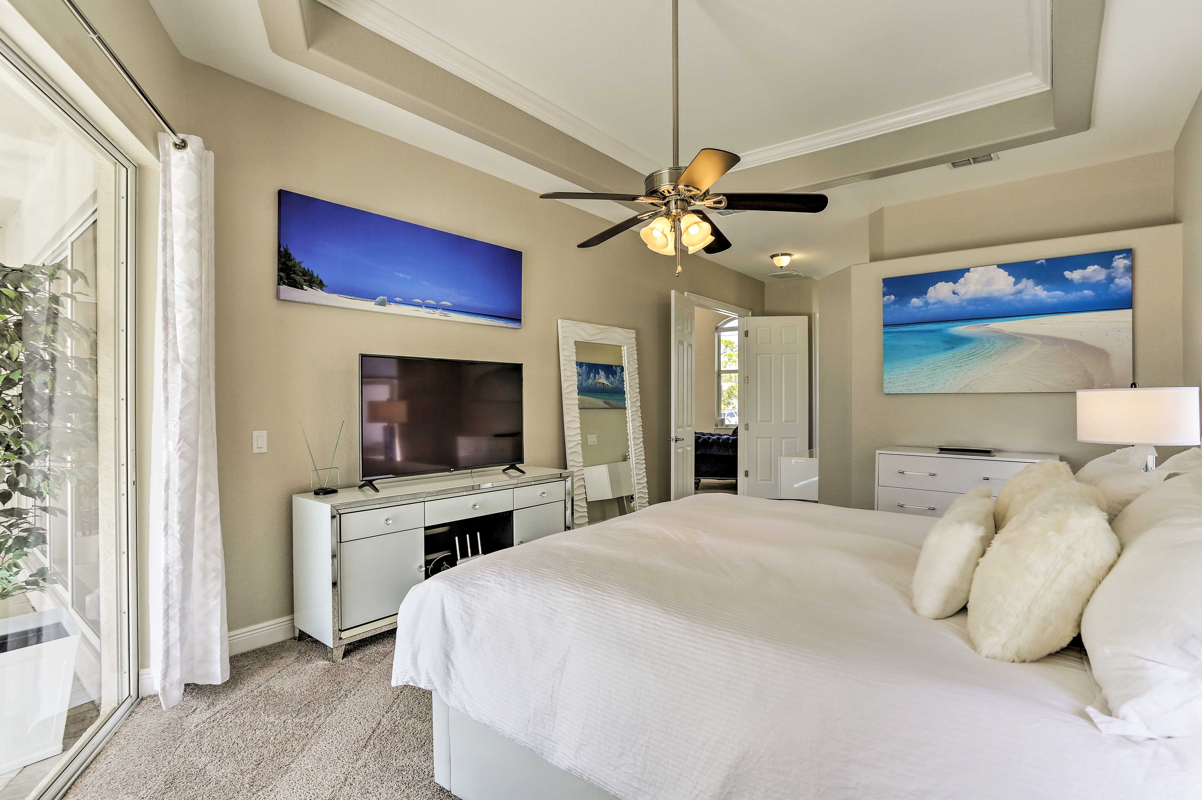 The master bedroom stands apart with backyard access!