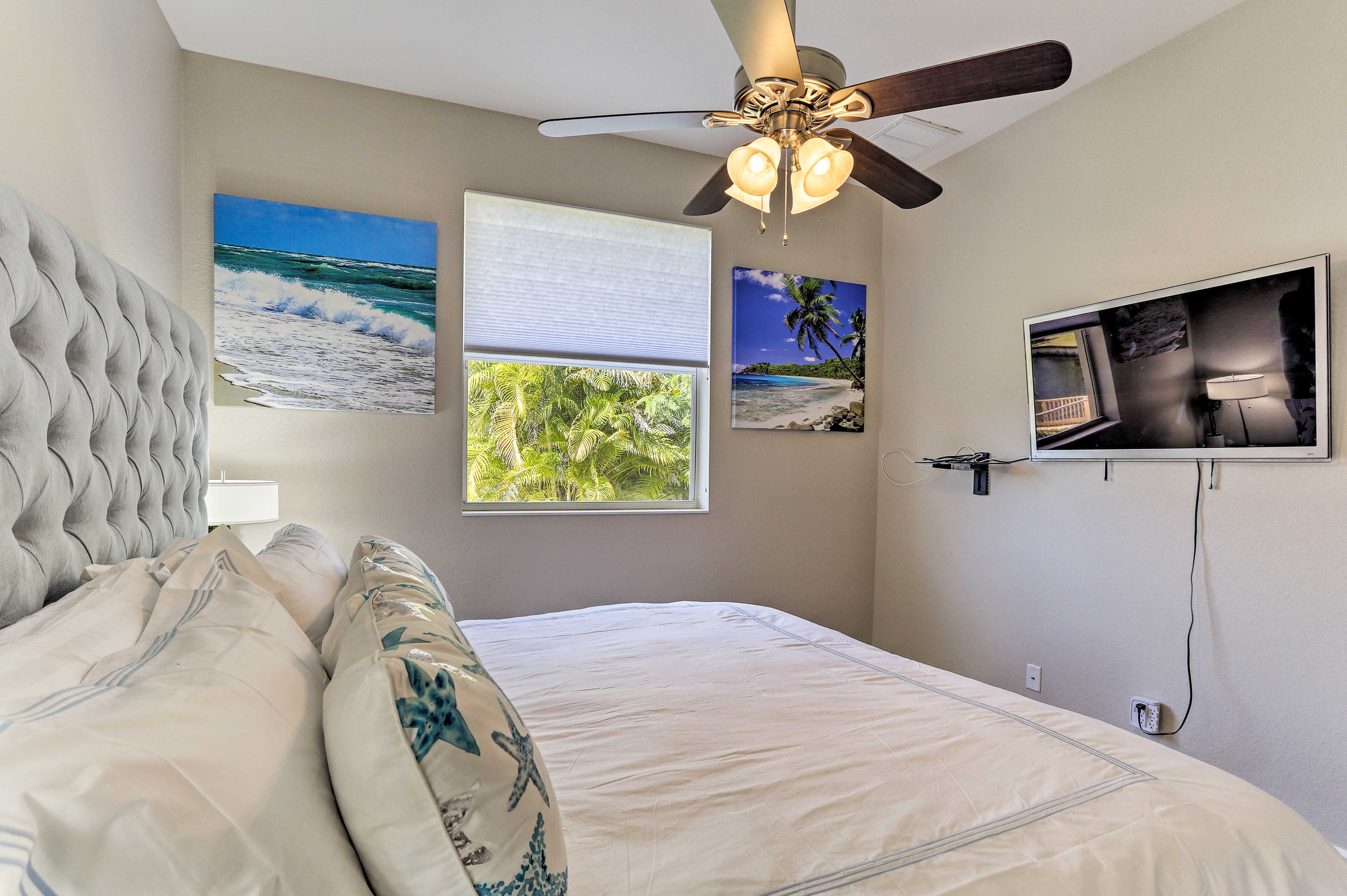 Leave the ceiling fan on for a cool and comfortable slumber.