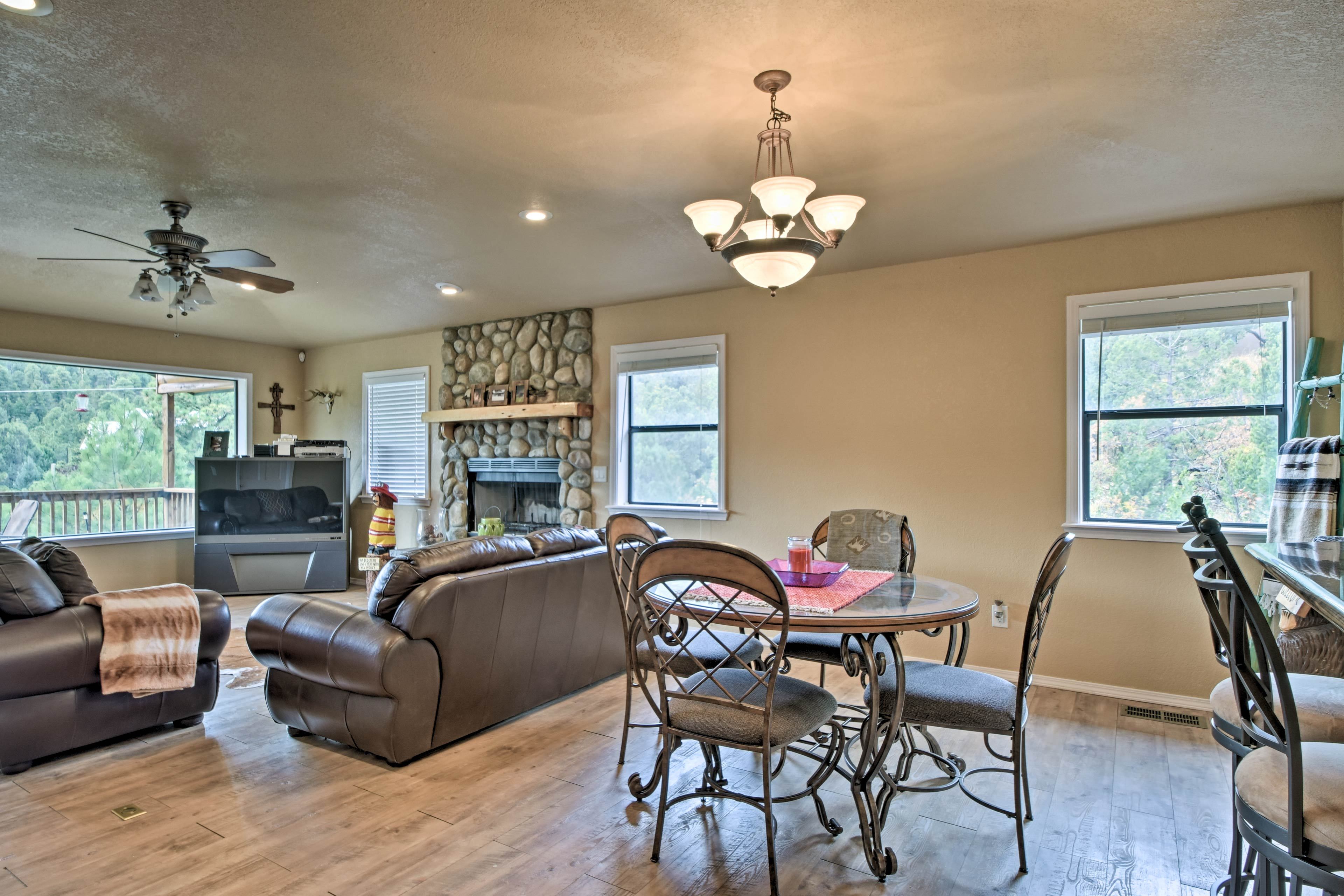 The open layout allows the living room to flow into the kitchen.