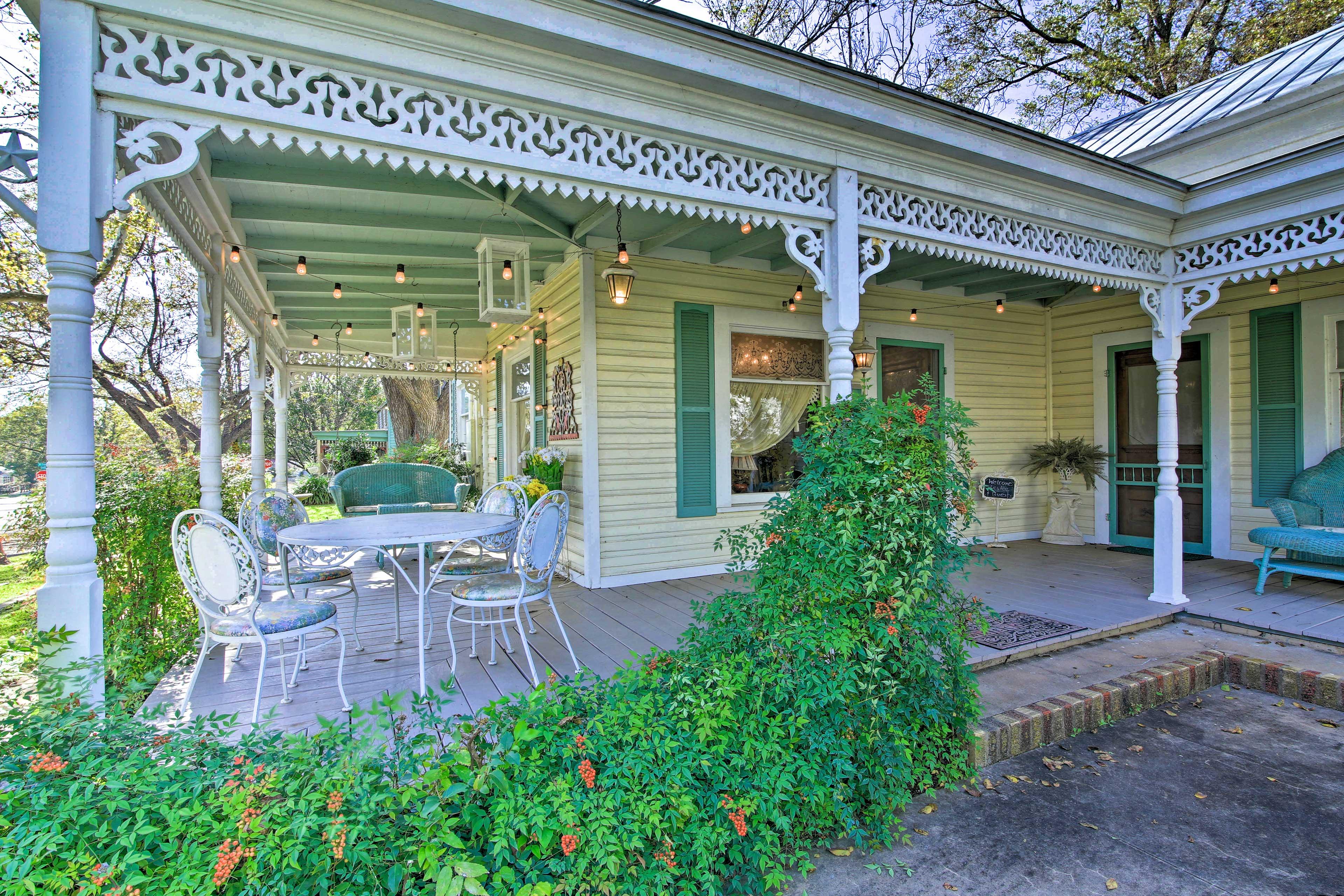 Gather under the porch to enjoy meals.
