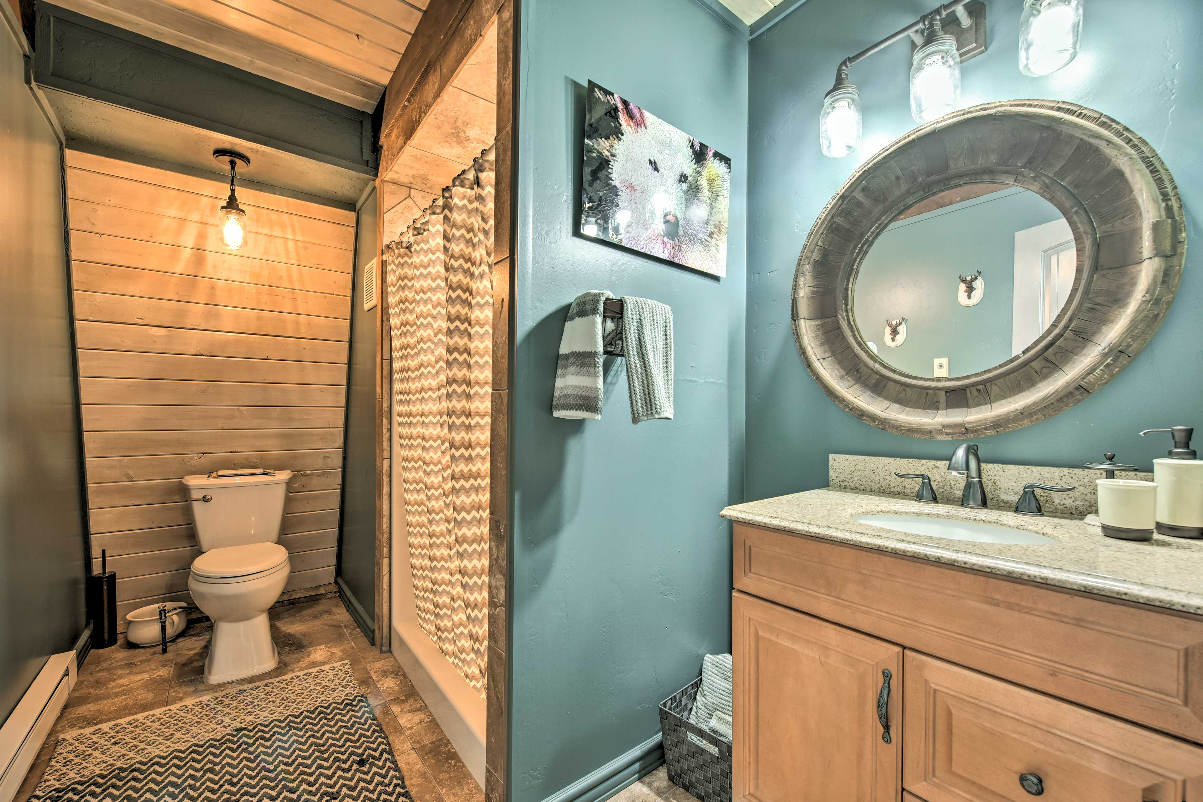 This full bath features a walk-in shower.