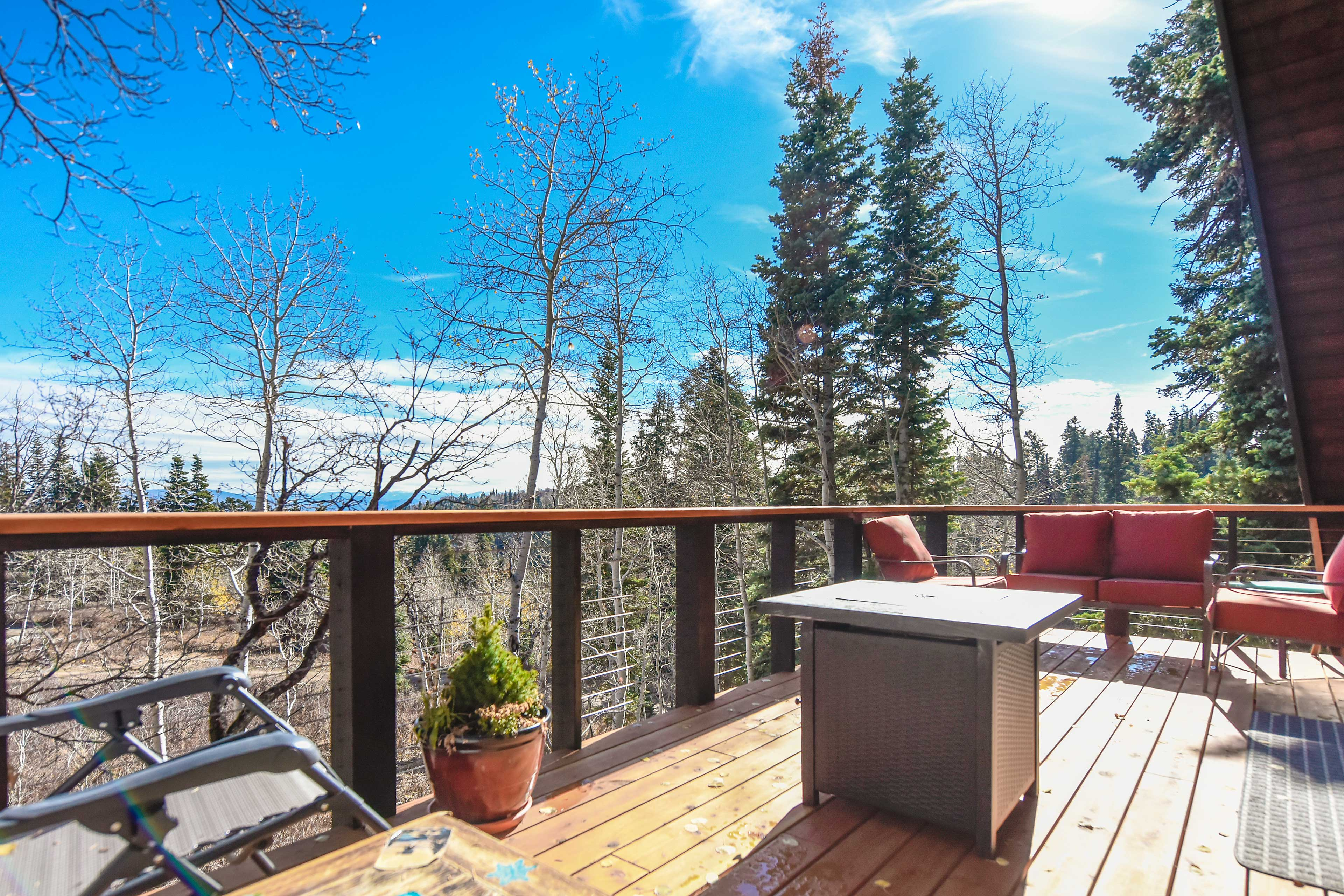 The deck looks out to sweeping views of the Unita Mountains.