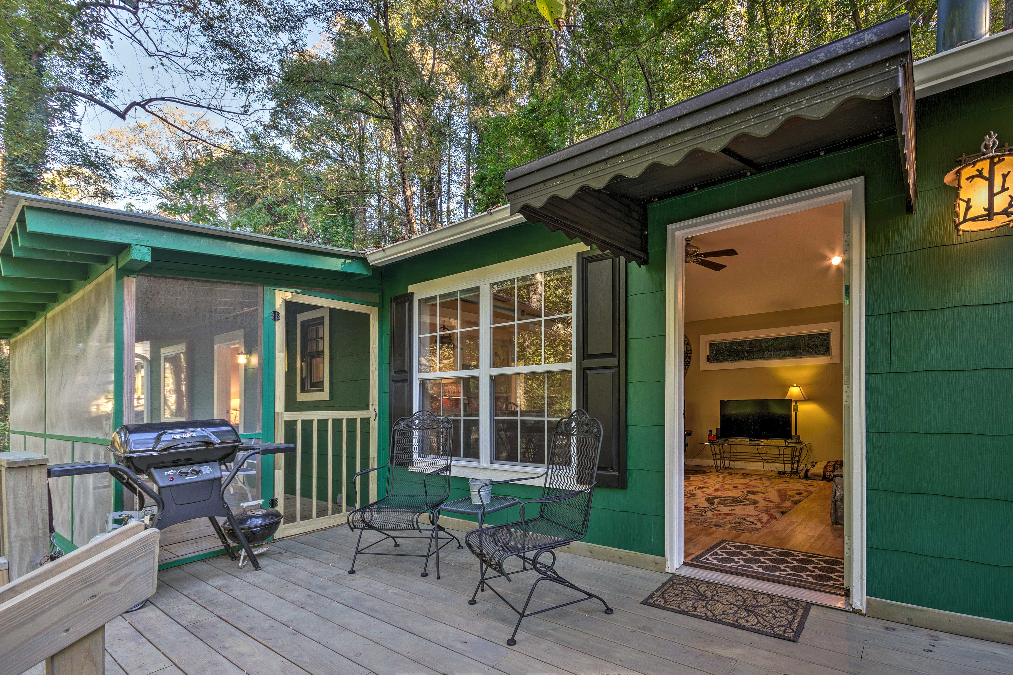 '55 Riverby Lane' features room for 2, a gas grill, screened porch, and more!