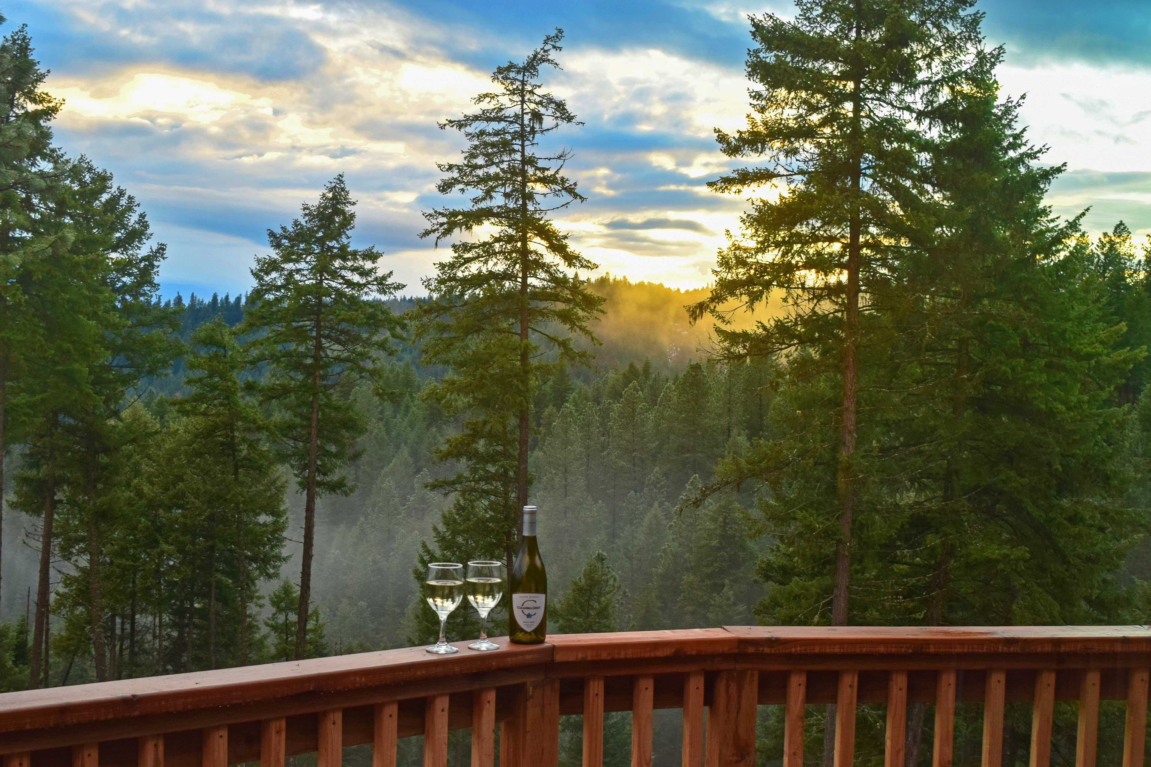 Grab a bottle of wine to share on the furnished deck.