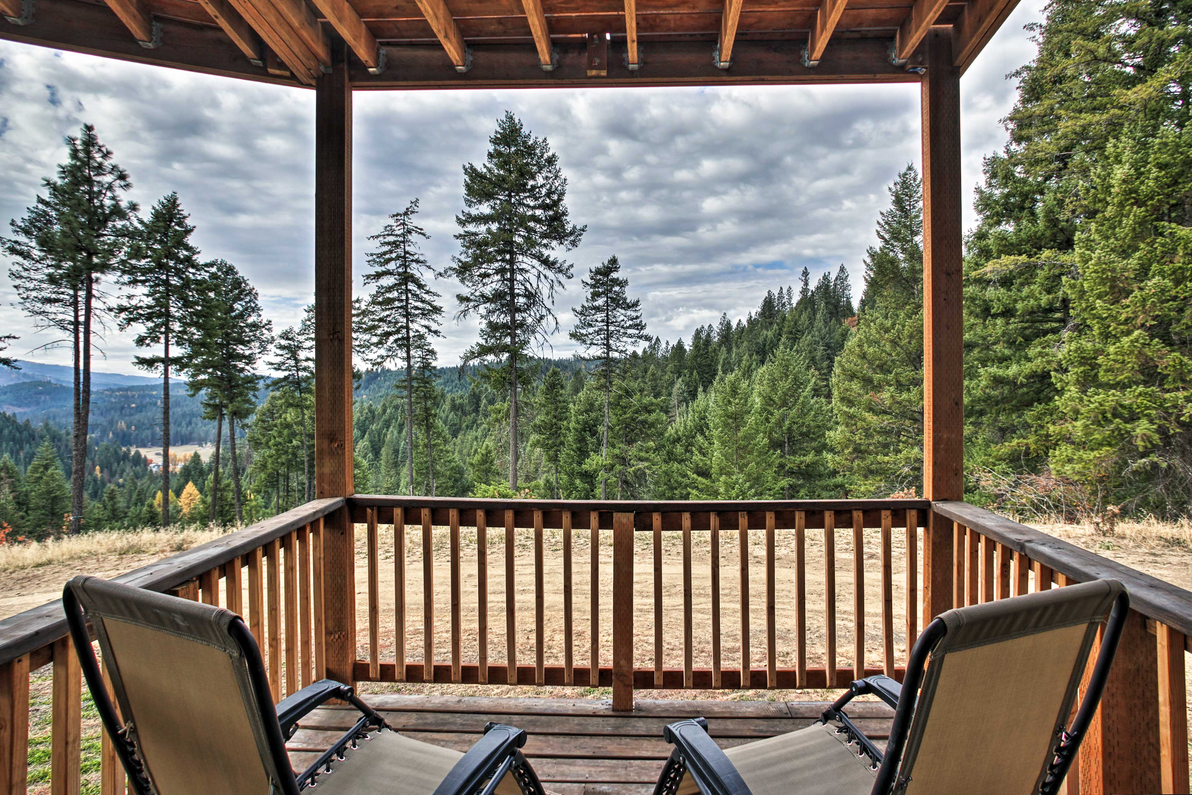 Embrace the fresh mountain air from these loungers.